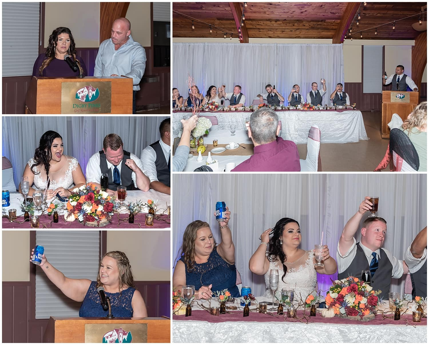 The wedding reception speeches at Digby Pines Resort Hotel in Digby Nova Scotia.