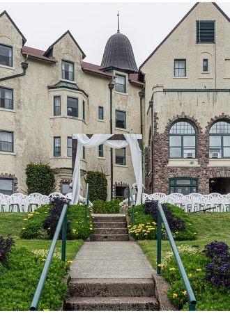 The wedding ceremony set up at the Digby Pines Resort Hotel in Nova Scotia.