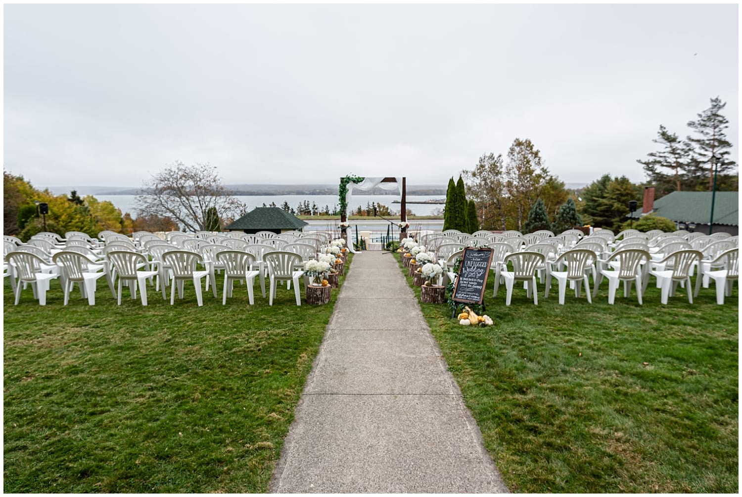 The wedding ceremony set up for a wedding at the Digby Pines Resort in Digby Nova Scotia.