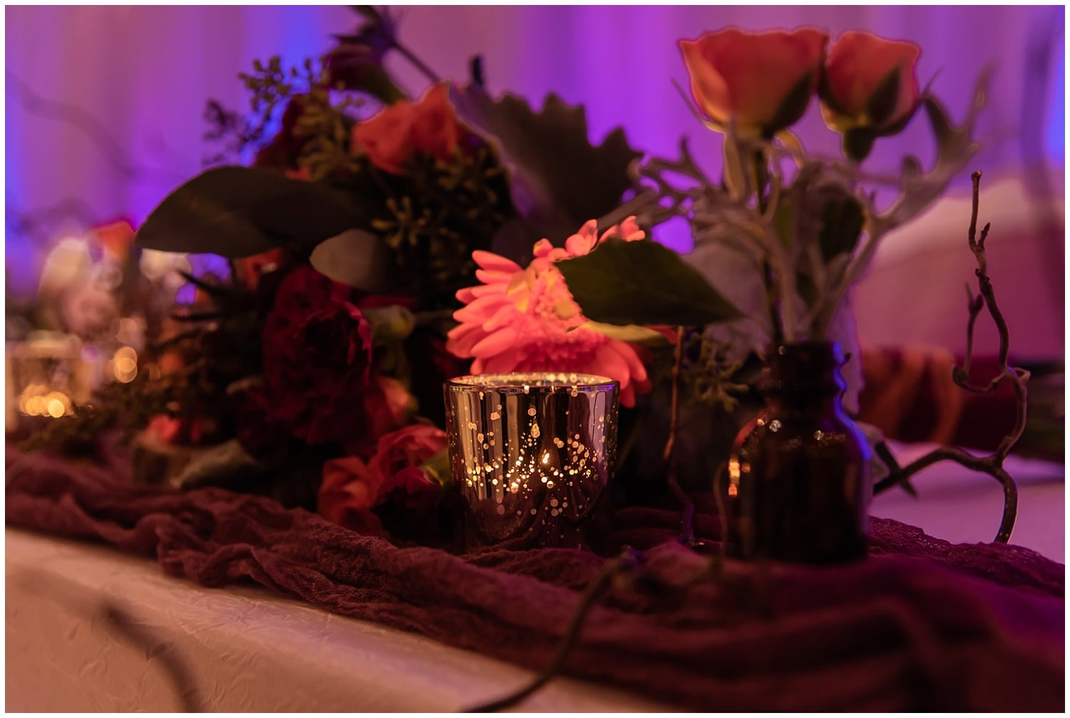 Decorations at a wedding reception at the Digby Pines Resort in Nova Scotia.