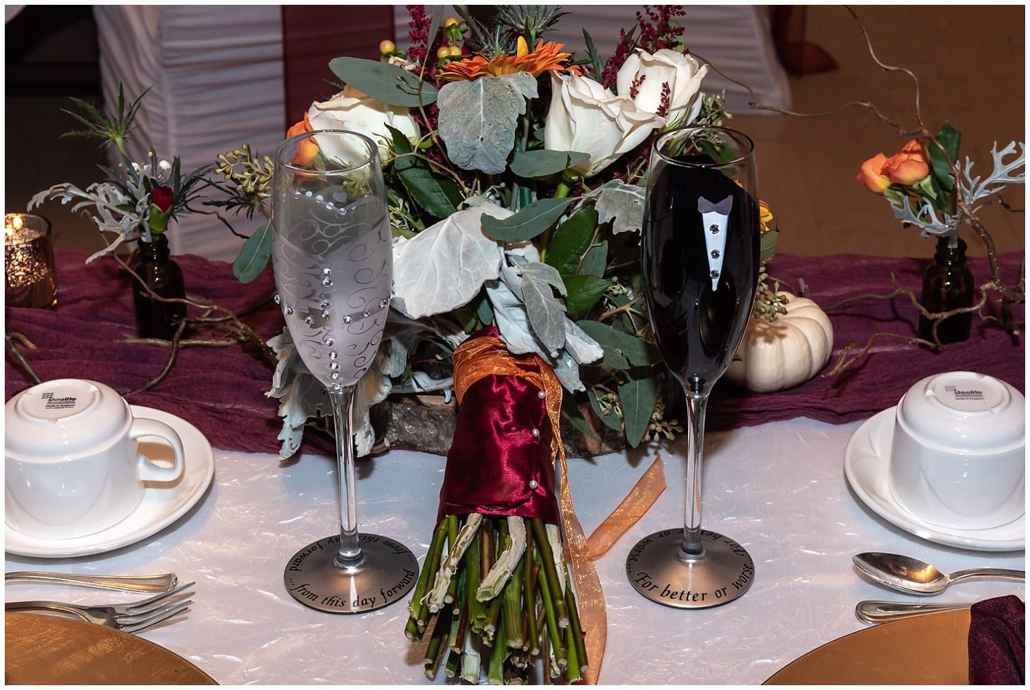 The bride and groom wine glasses at a Digby Pines Resort wedding reception.