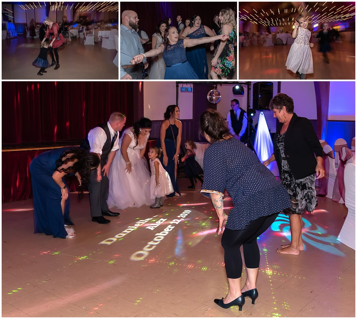 Guests and the bride and groom dancing during their Digby Pines Resort wedding reception.