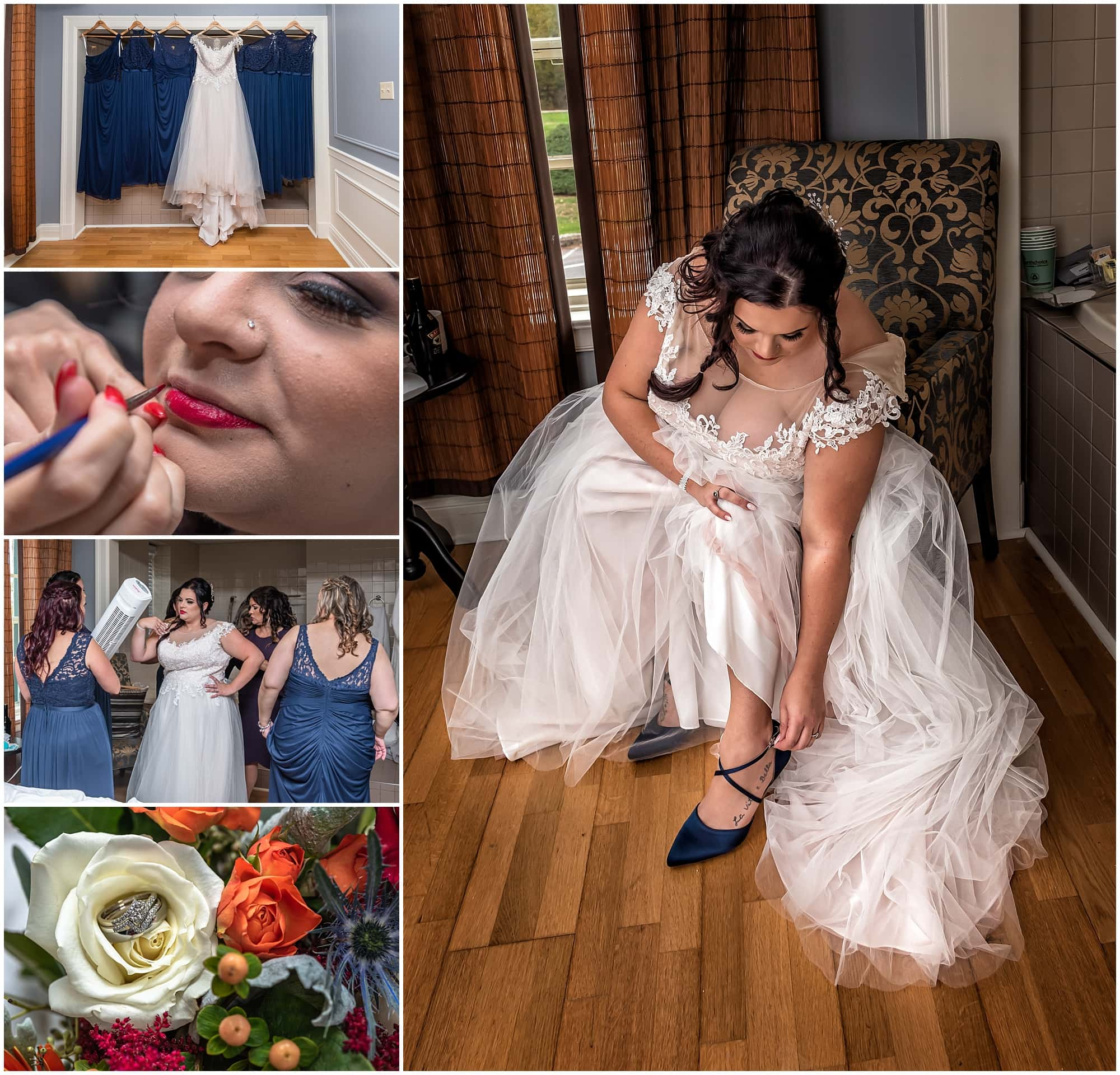The bridal prep prior to the wedding ceremony of the bride getting ready at Digby Pines Resort in Nova Scotia.
