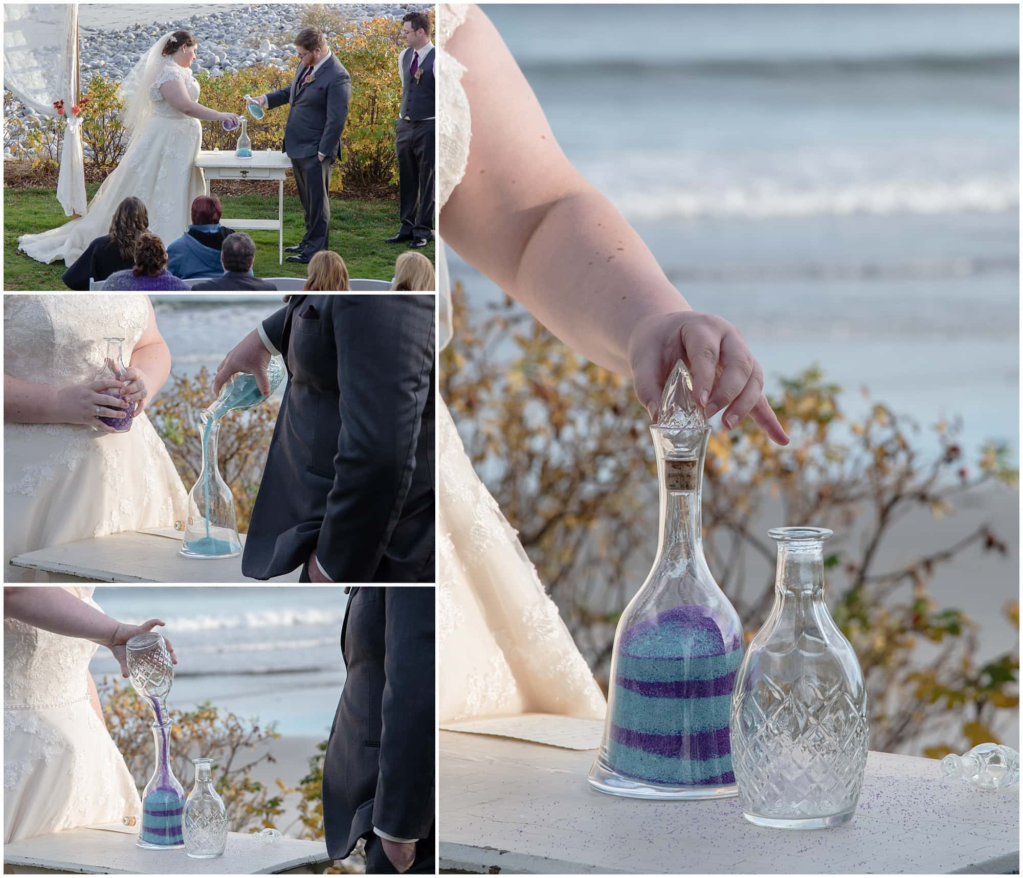The bride and groom perform a unity wedding sand ceremony during their wedding day at White Point Beach Resort in Nova Scotia.