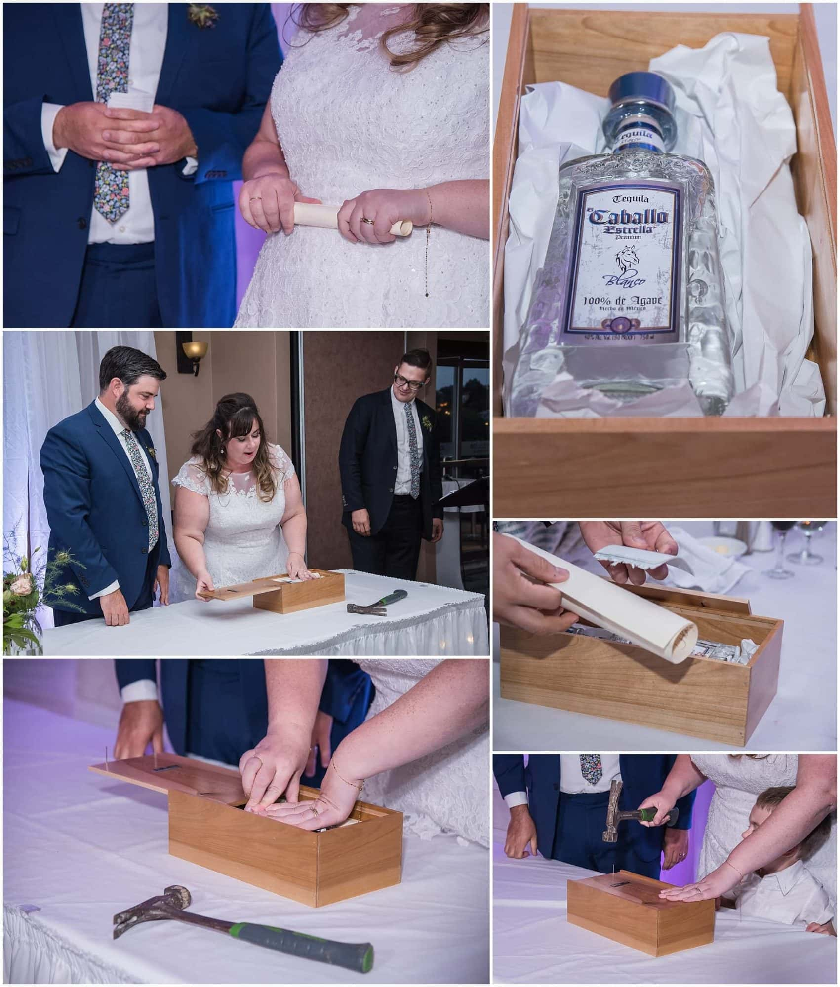 The bride and groom place their love letters and a bottle of wine in a box and seal it with a hammer and nails.