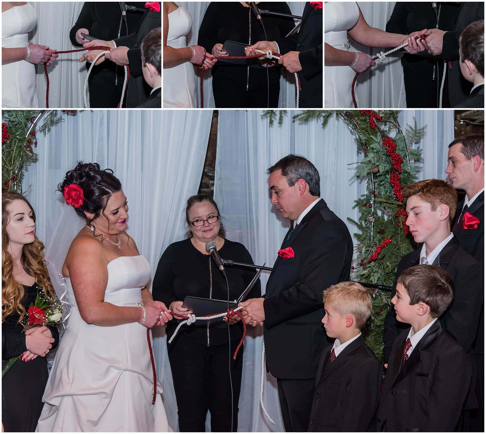 Bride and groom completing a fisherman's knot or lover's knot during their Nova Scotia wedding ceremony at the Lower Deck Tap Room.