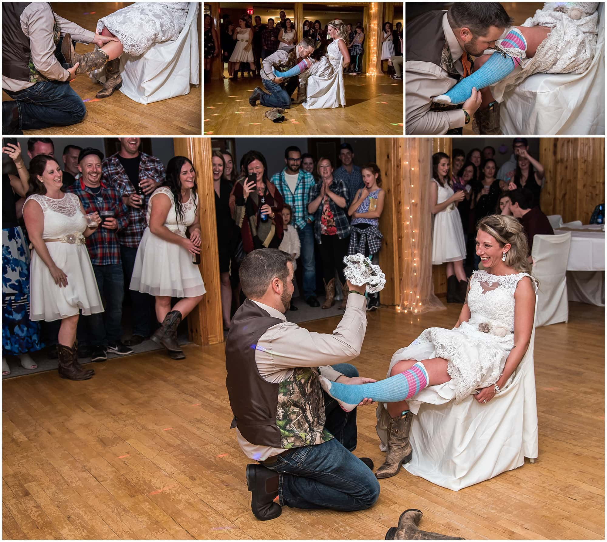 The groom takes of the bride's cowboy boots then grabs the garter off her leg during the garter toss.