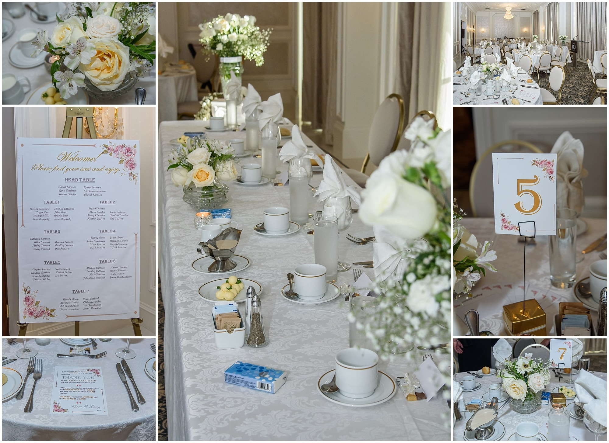 A beautiful stunning wedding reception set up at the Lord Nelson Hotel in Halifax, NS.