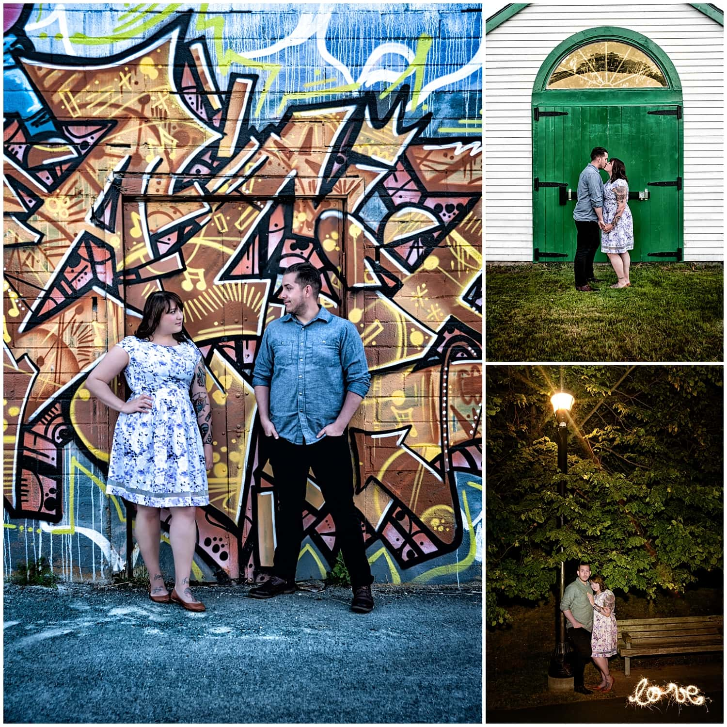 Engagement photos taken of a couple in love on Canal Street and the Dartmouth waterfront.