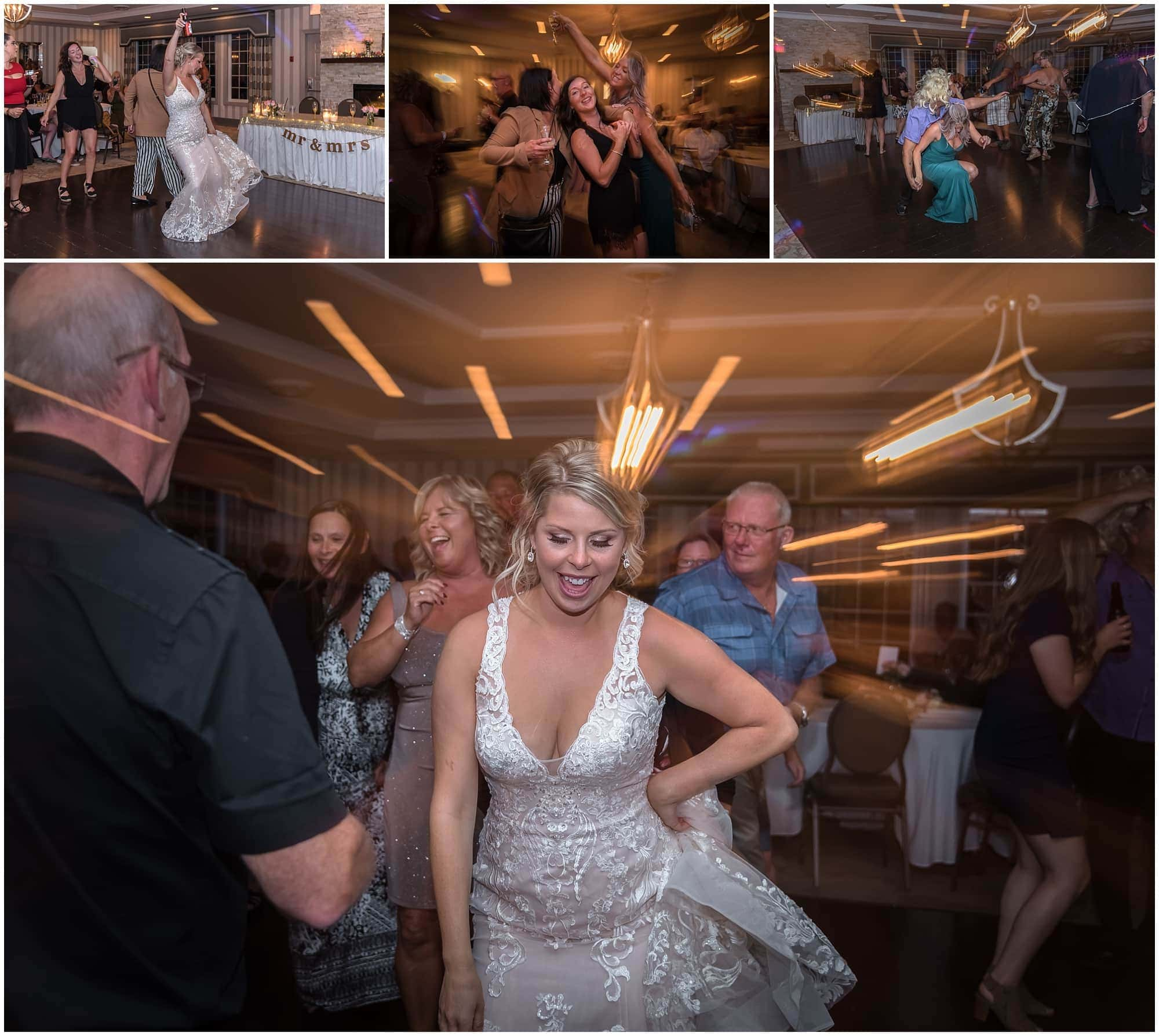 Photographer playing with light as guests dance during a wedding reception at the Ashburn Golf Club in Halifax.