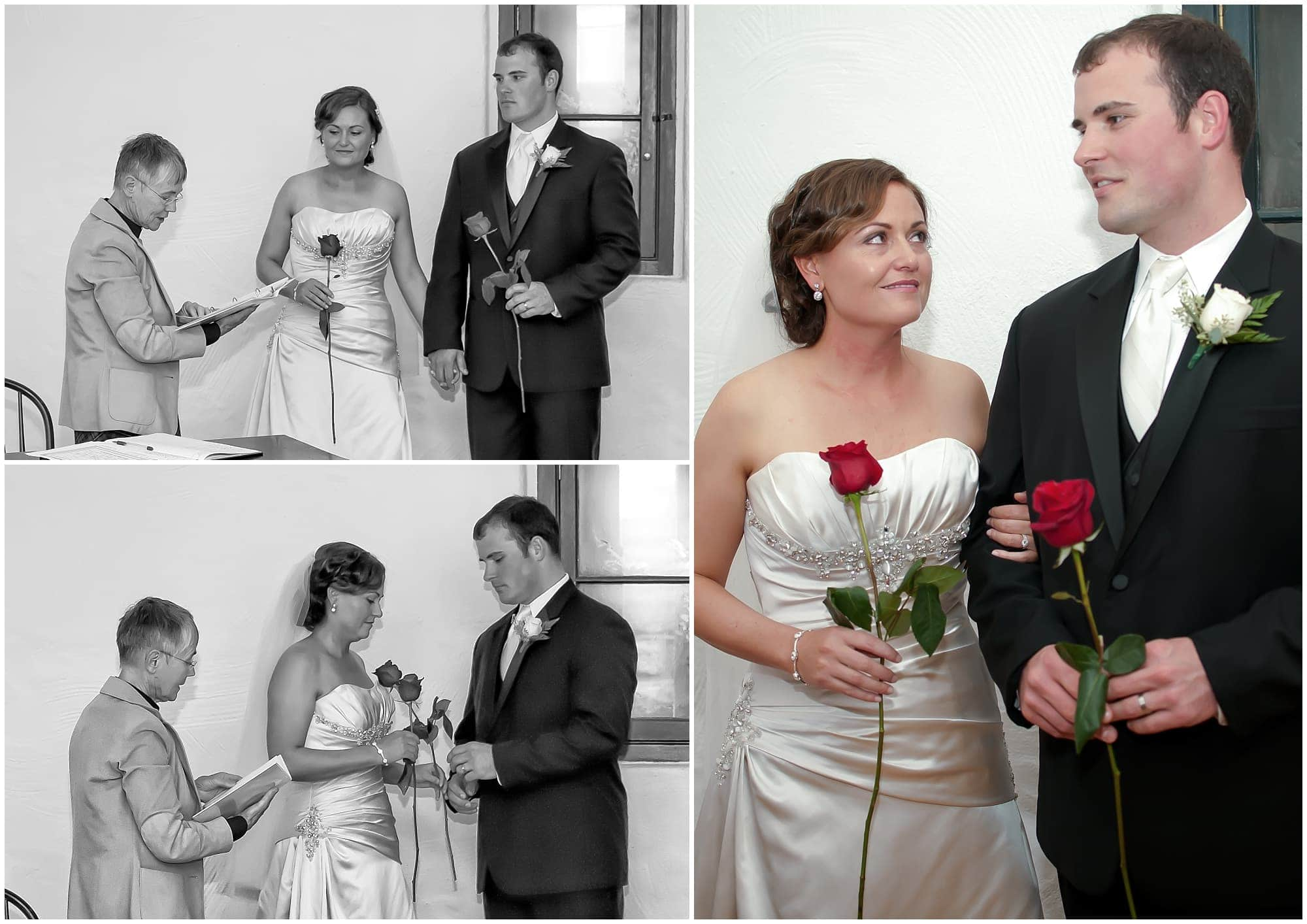 The bride and groom exchange roses during their wedding ceremony at the Citadel Hill in Halifax, NS.