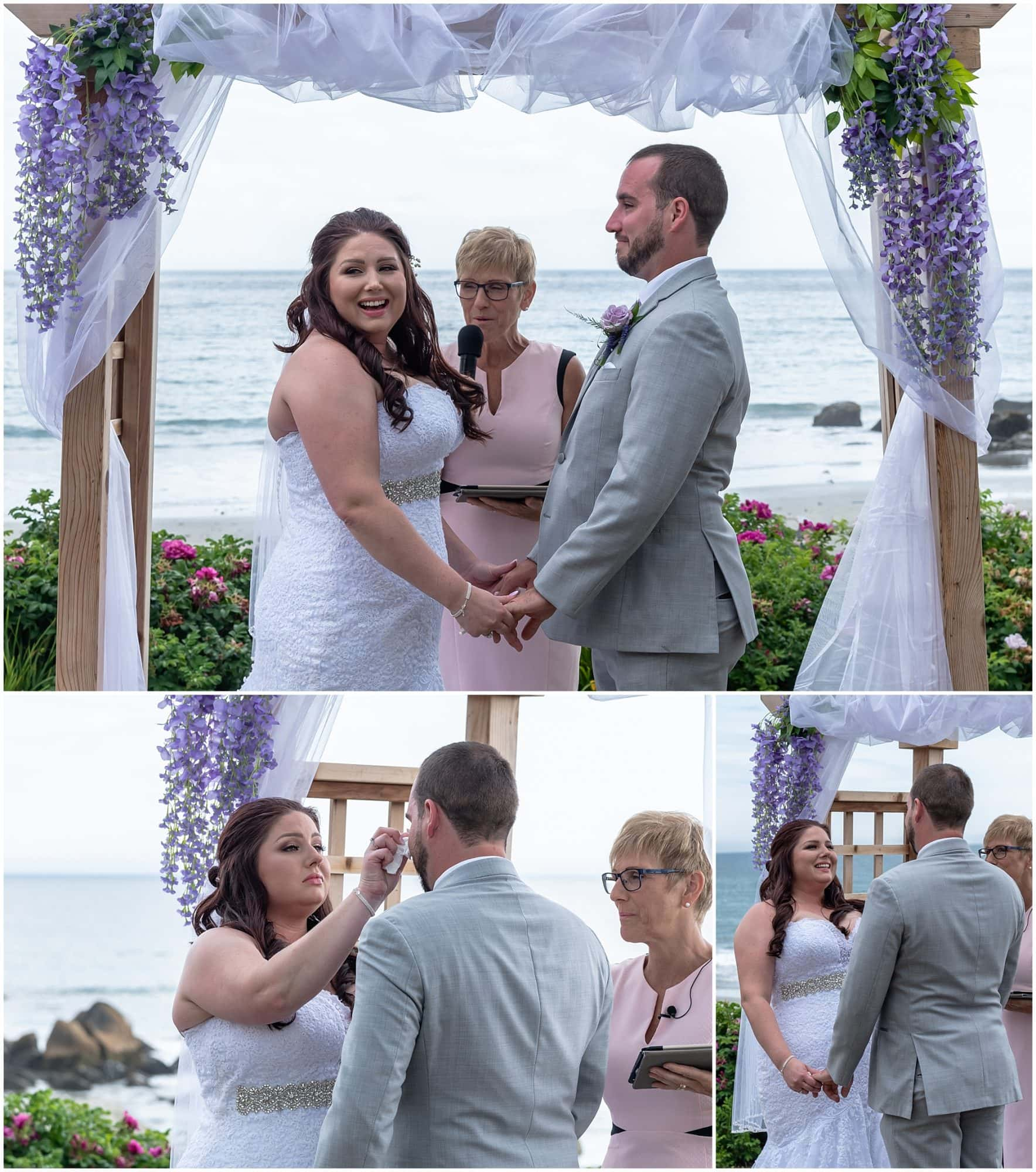 The bride and groom say their wedding vows to each other during their wedding ceremony at the White Point Beach Resort in Halifax NS.