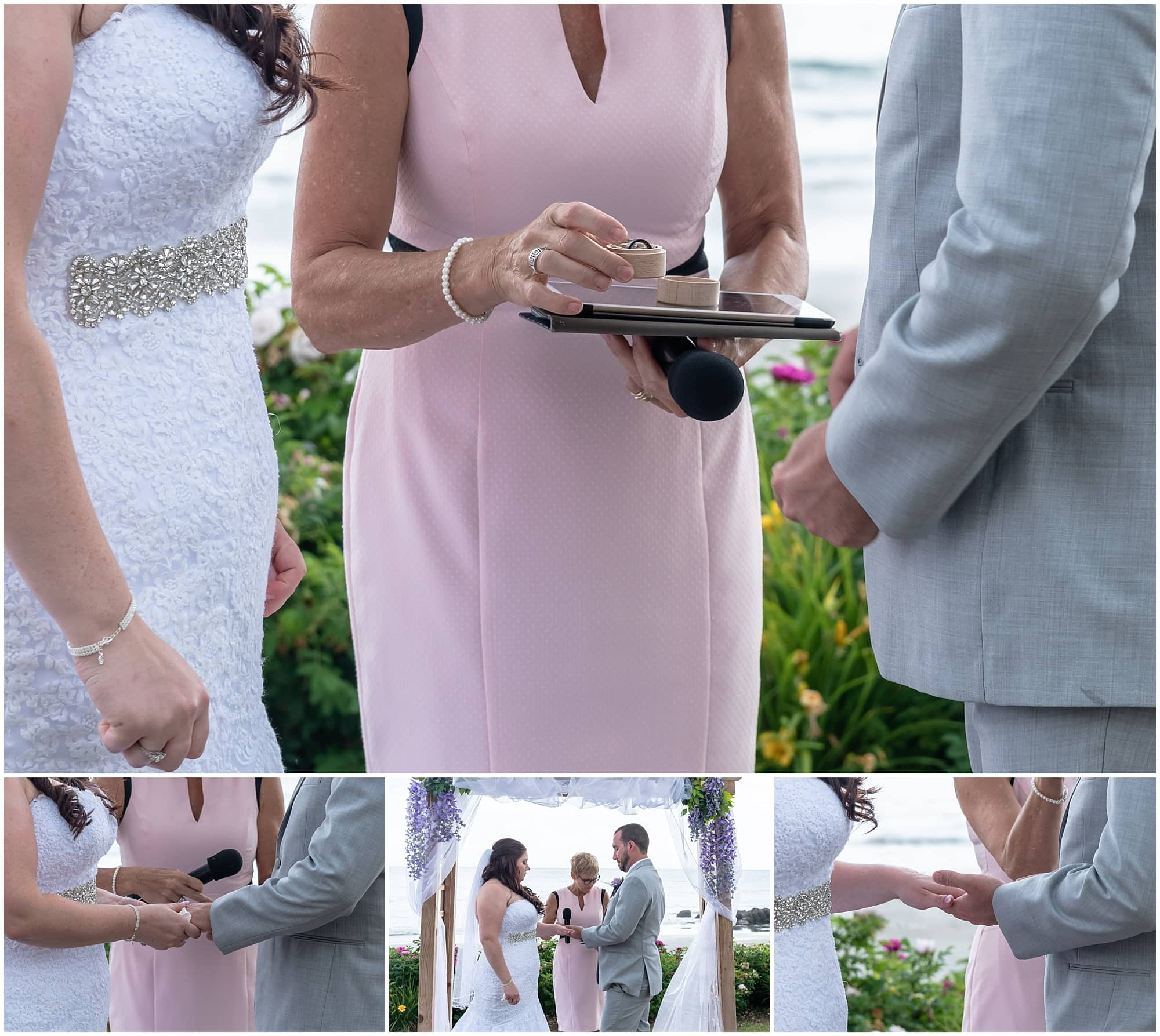 The bride and groom exchange wedding rings during their ceremony under a wedding arch at the White Point Beach Resort in Nova Scotia.