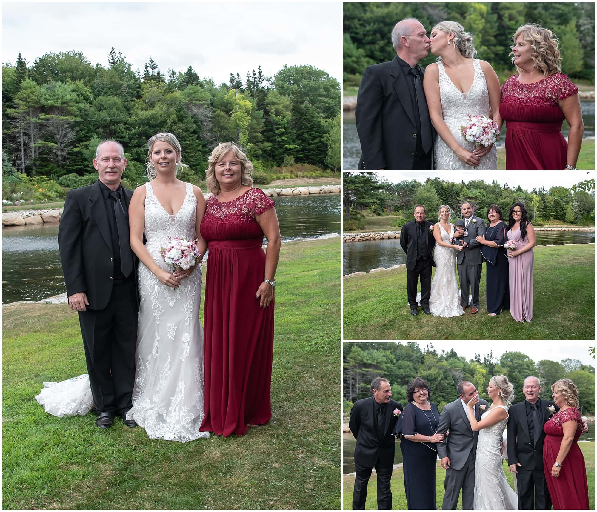 The bride and groom during family wedding photos at a backyard wedding in Halifax NS.