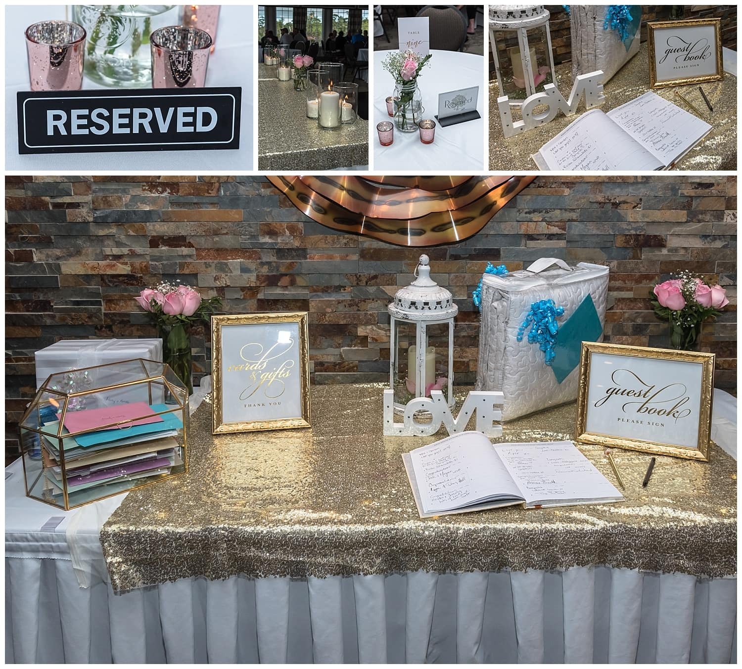 Wedding reception set up of guestbook table at an Ashburn Golf Club Wedding.