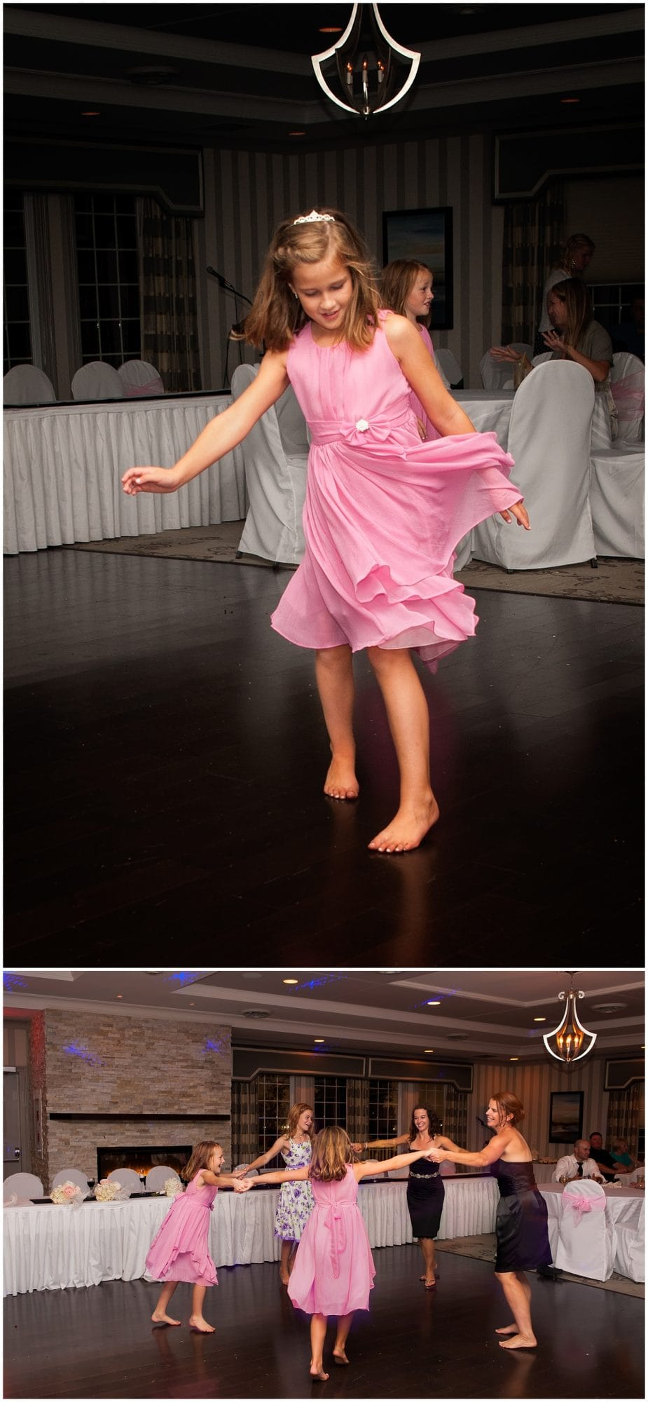 A flower girl dances during the wedding reception at the Ashburn Golf Club in Halifax Nova Scotia.