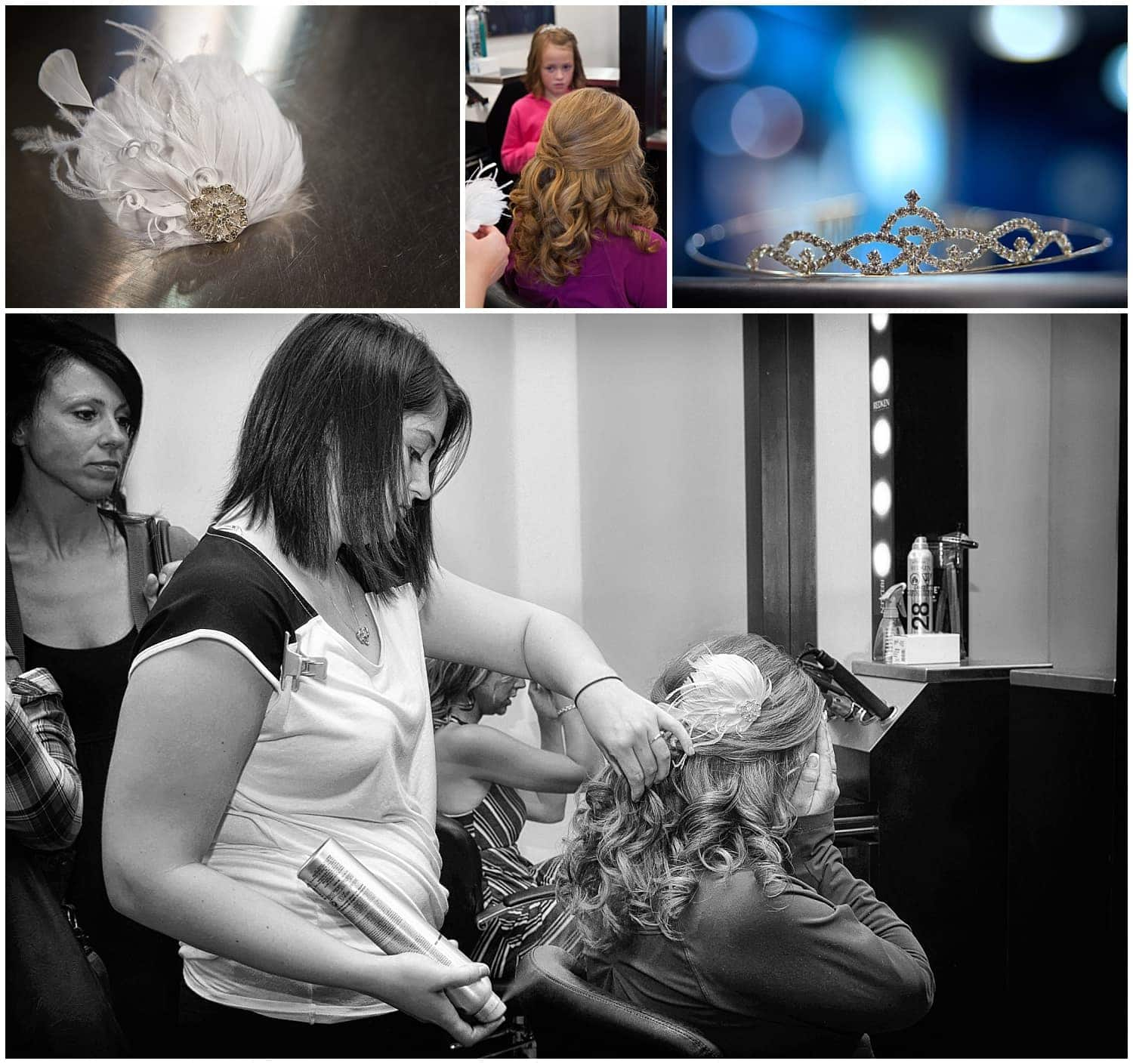 The bride getting her hair done at a salon in Halifax NS for her wedding day.