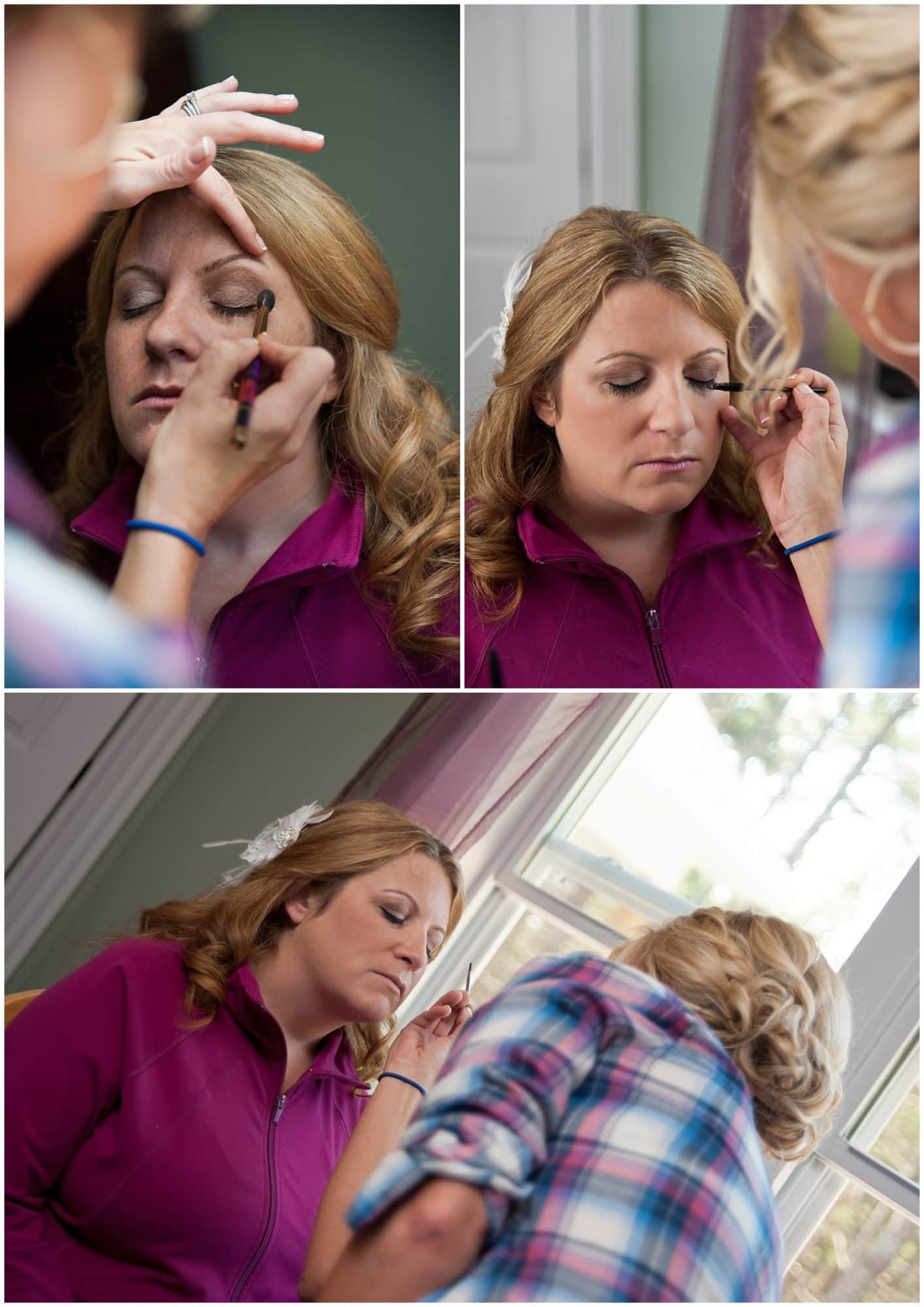 The bride having her makeup applied during her wedding bridal prep in Halifax, NS.