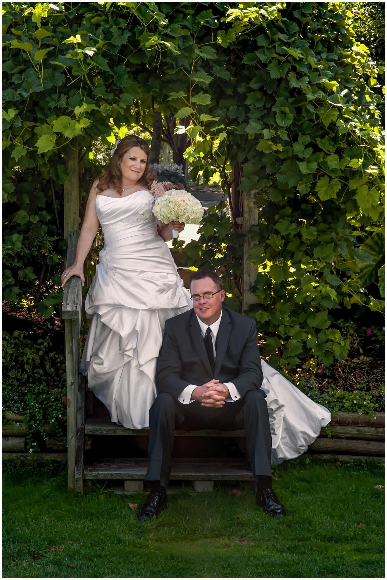The bride and groom pose for wedding photos during their wedding at the Ashburn Golf Club in Halifax Nova Scotia.