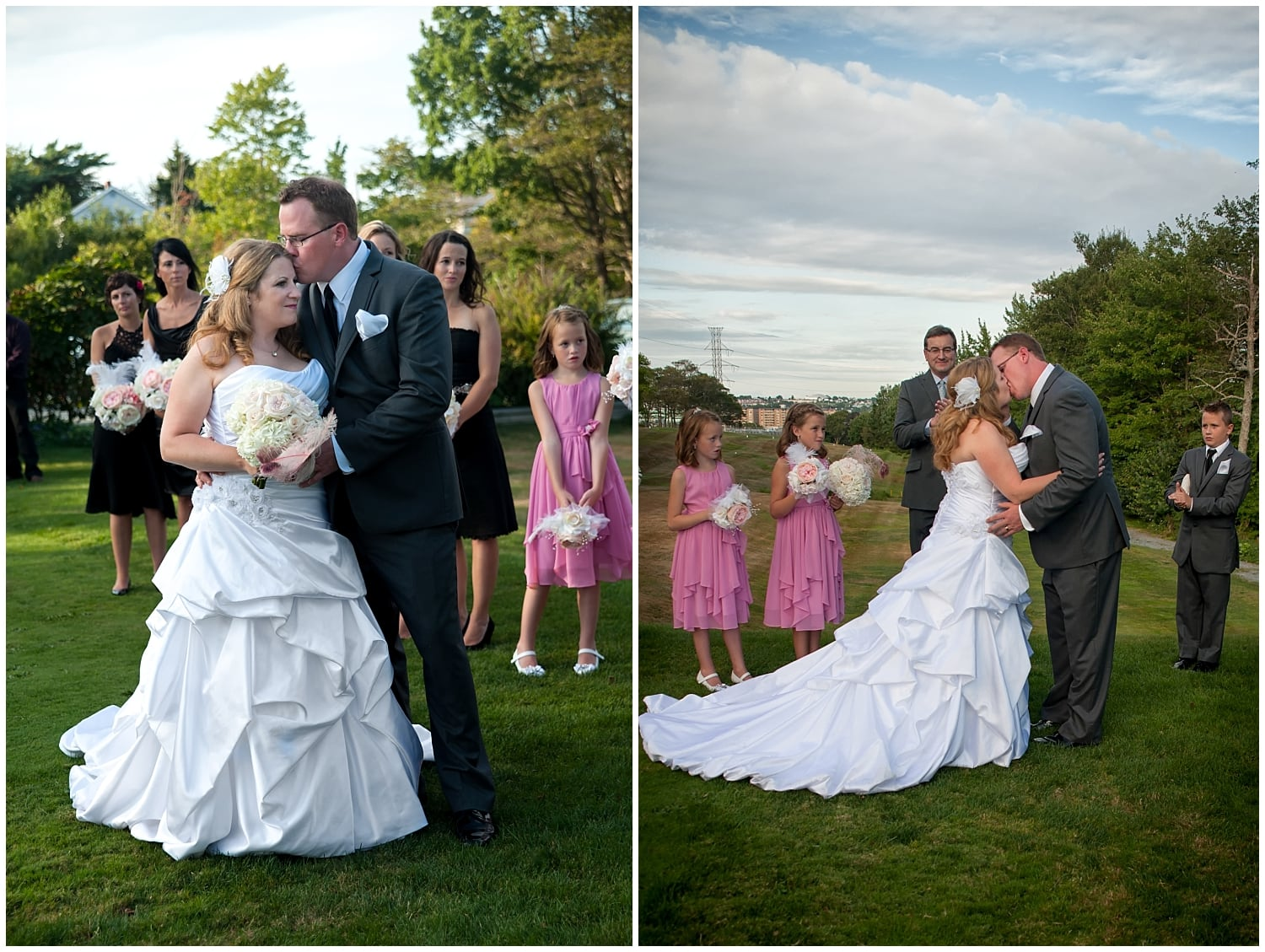 The groom and bride have their first kiss during their wedding ceremony at the Ashburn Golf Club in Halifax Nova Scotia.