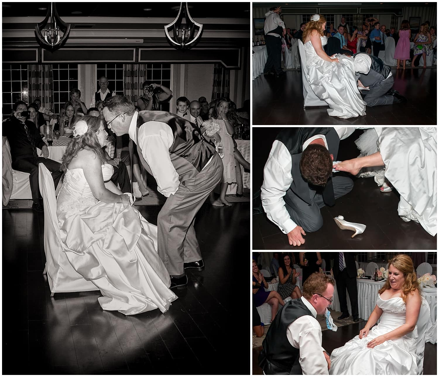 The garter toss by the groom with the bride at their wedding reception at Ashburn Golf Club in Halifax, NS.
