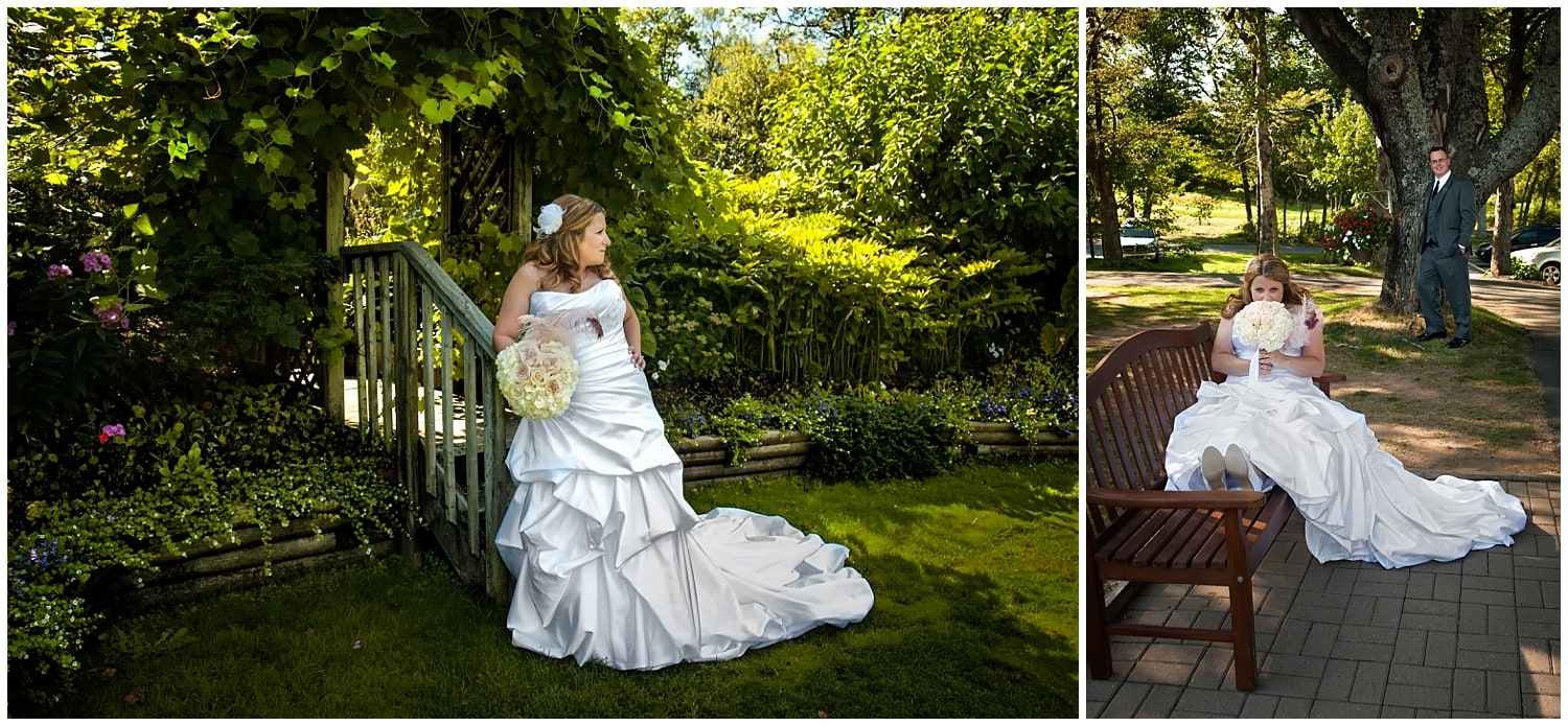 The bride and groom pose for wedding photos at Ashburn Golf Club in Halifax NS.