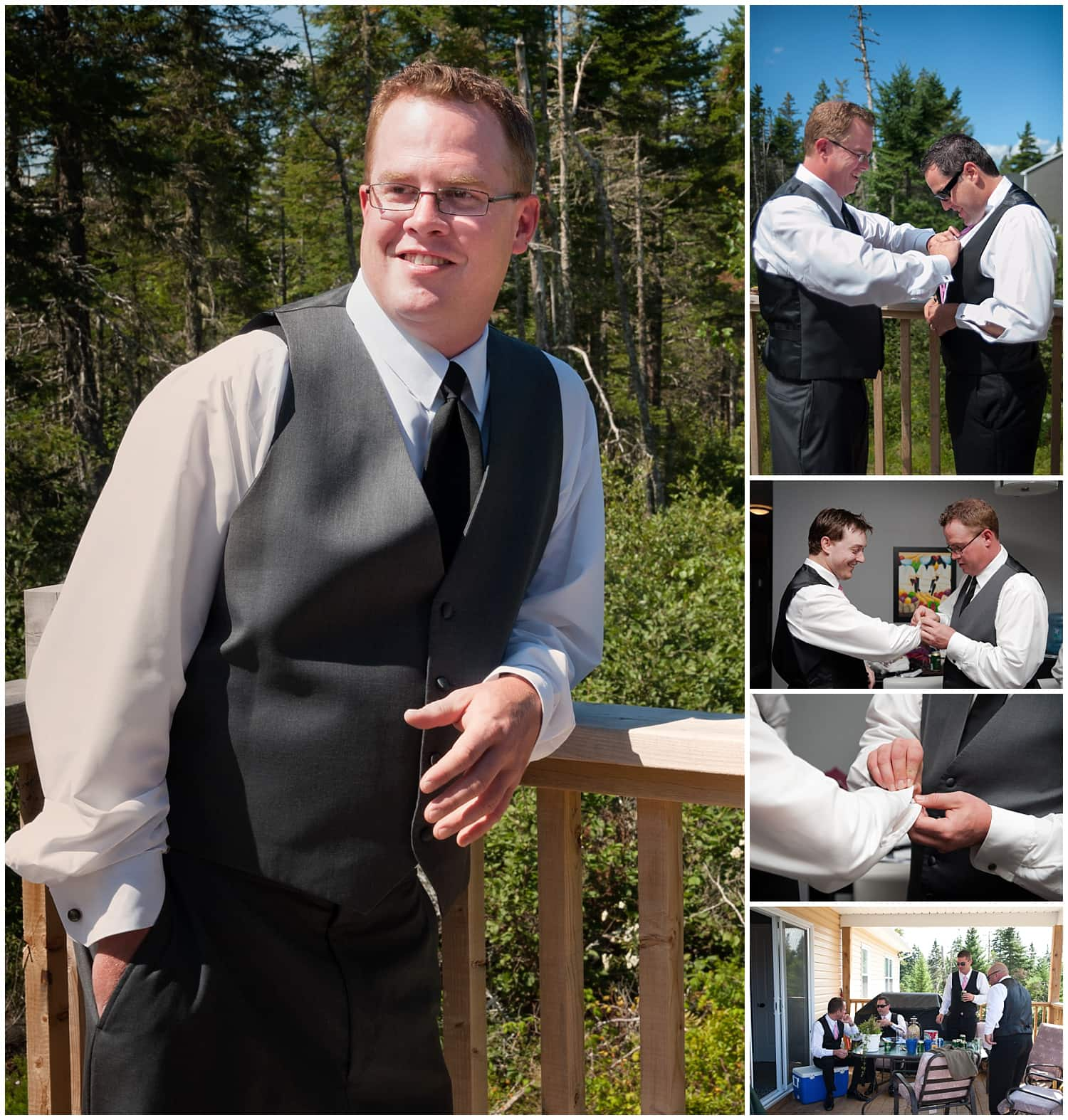 The groom getting ready for his wedding with his groomsmen in Mount Uniacke NS.
