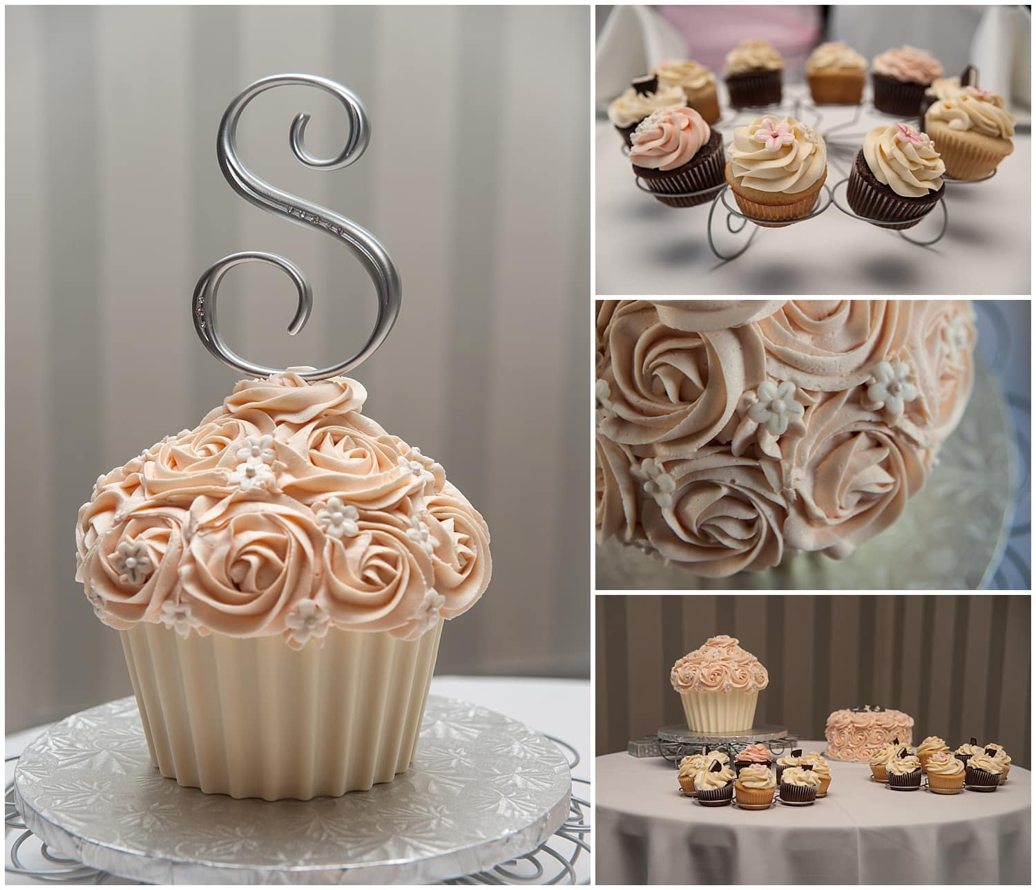 The wedding cupcakes and a huge cupcake for the bride and groom to cut.