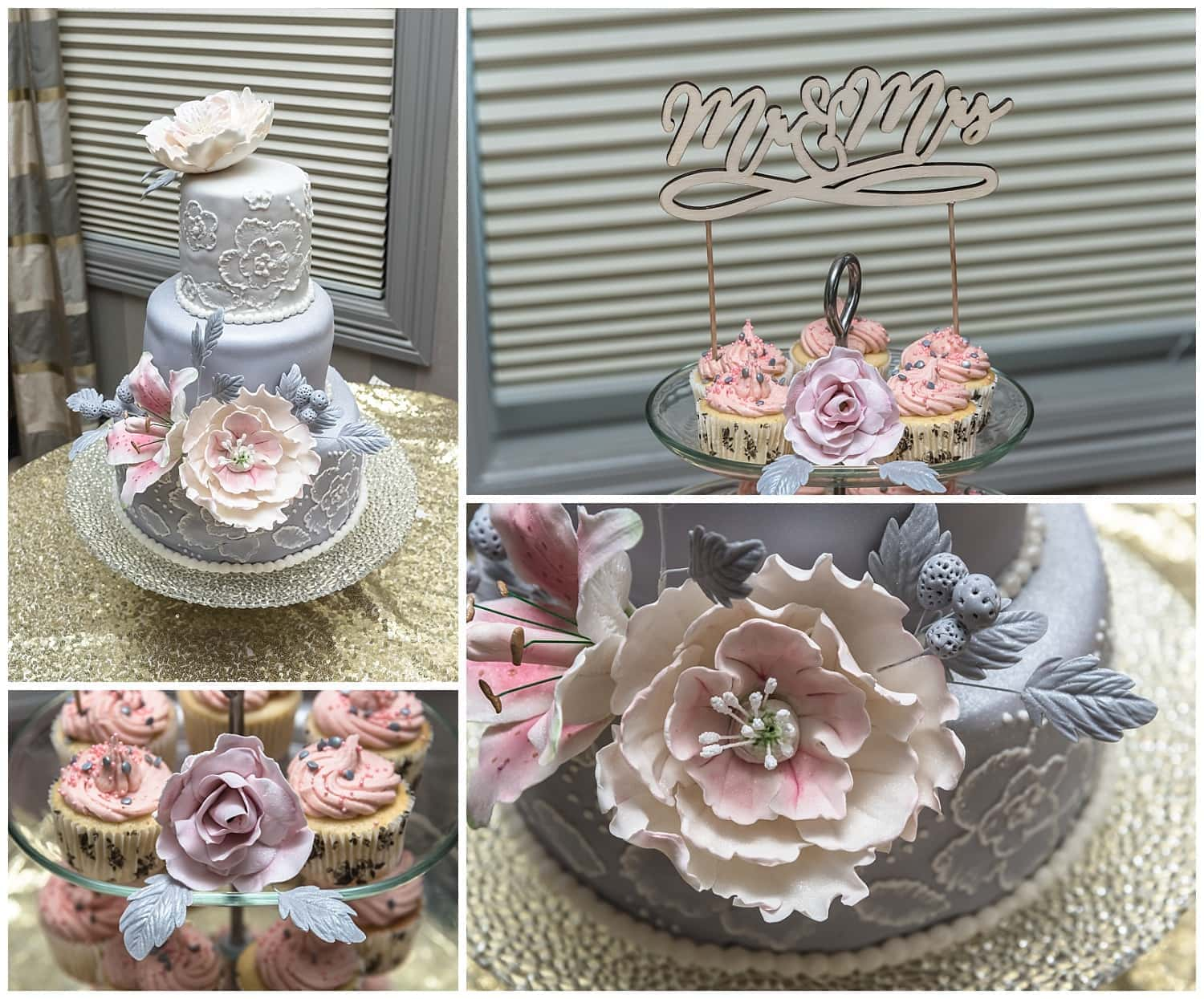 A beautifully stunning wedding cake with fondant flowers.
