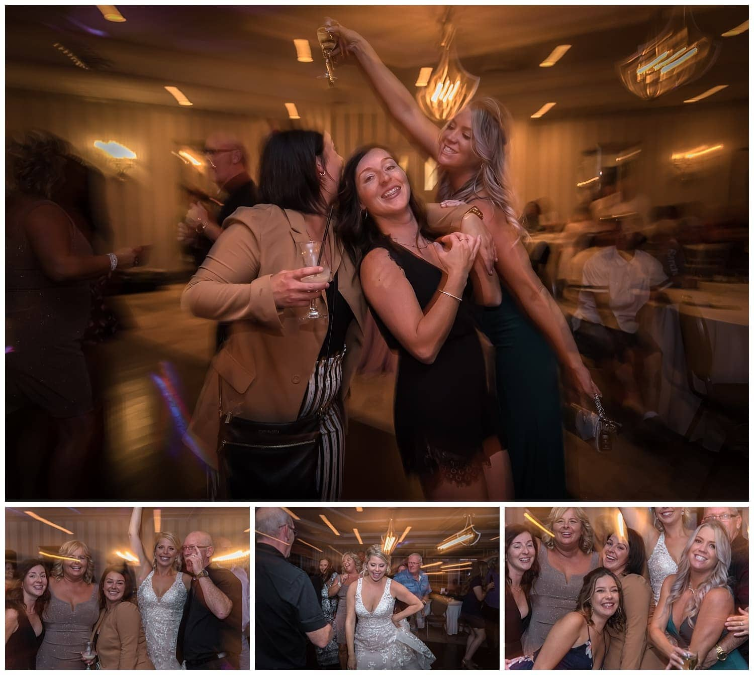 Wedding guests dancing with the bride during her wedding reception at the Ashburn golf club.