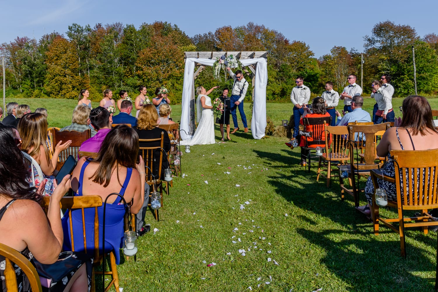 The bride and groom's wedding ceremony at the barn at Sadie Belle Farm.