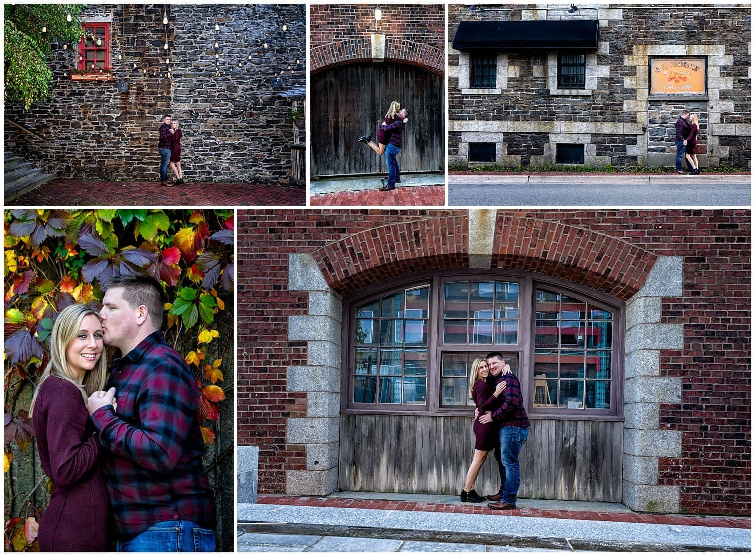 A cute couple poses for their engagement photos on the Halifax waterfront in Nova Scotia.