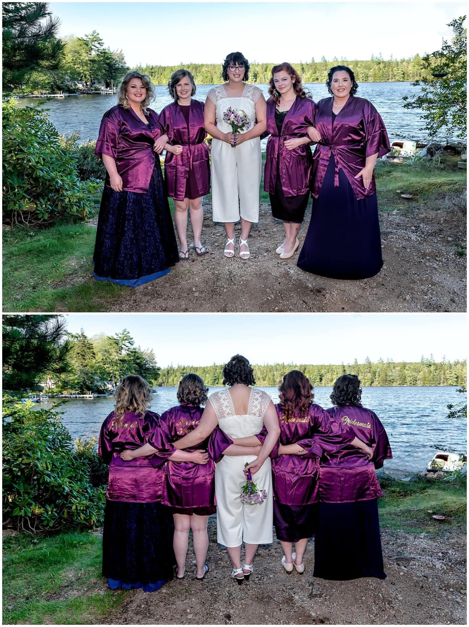 A bride with bridesmaids during the bridal prep for her backyard wedding in Hubbards NS.