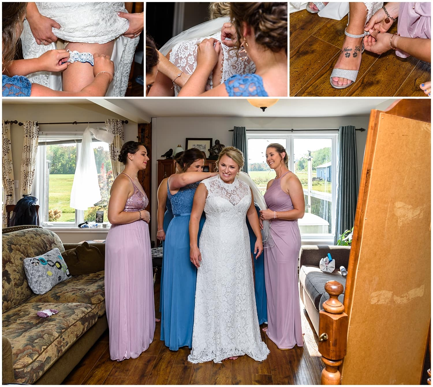 The bride with bridesmaids getting into her wedding dress during her bridal prep at the Barn at Sadie Belle Farm in Hantsport NS.