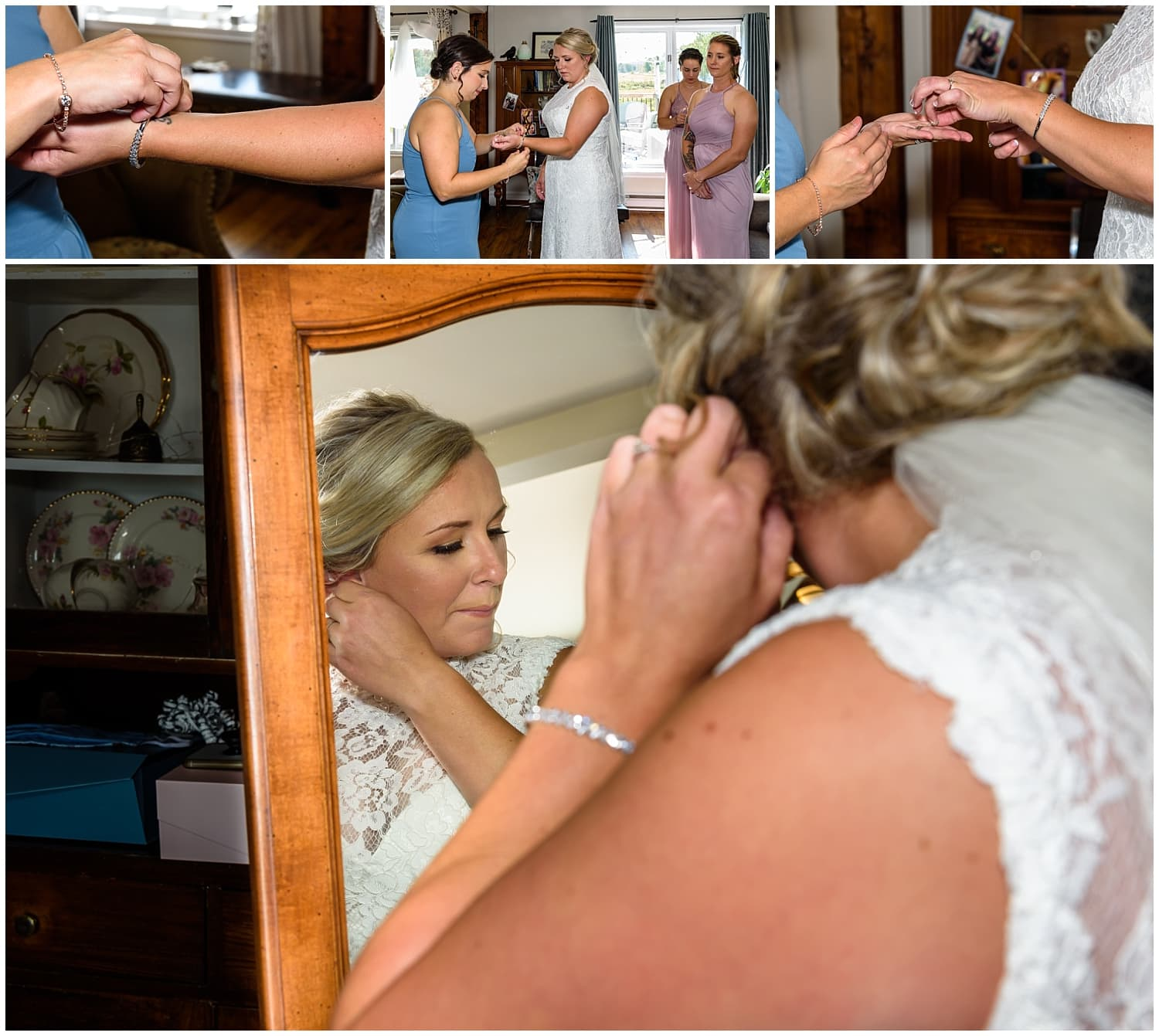 The bride putting on her wedding jewellery during bridal prep at her wedding at the Barn at Sadie Belle Farm in Hantsport NS.