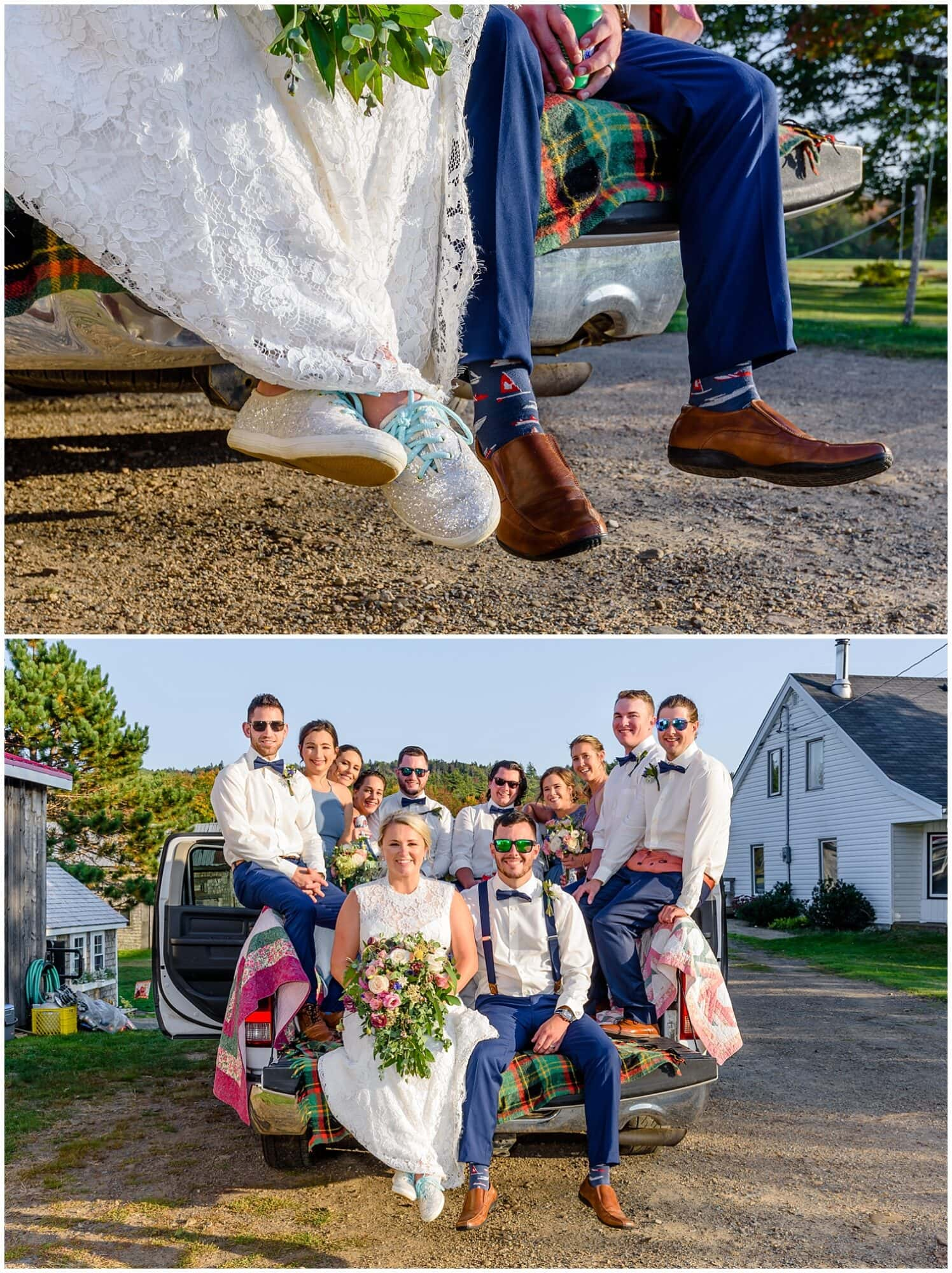 The wedding party with the bride and groom getting on a truck to go to a new location for more wedding photos at the Barn at Sadie Belle Farm.