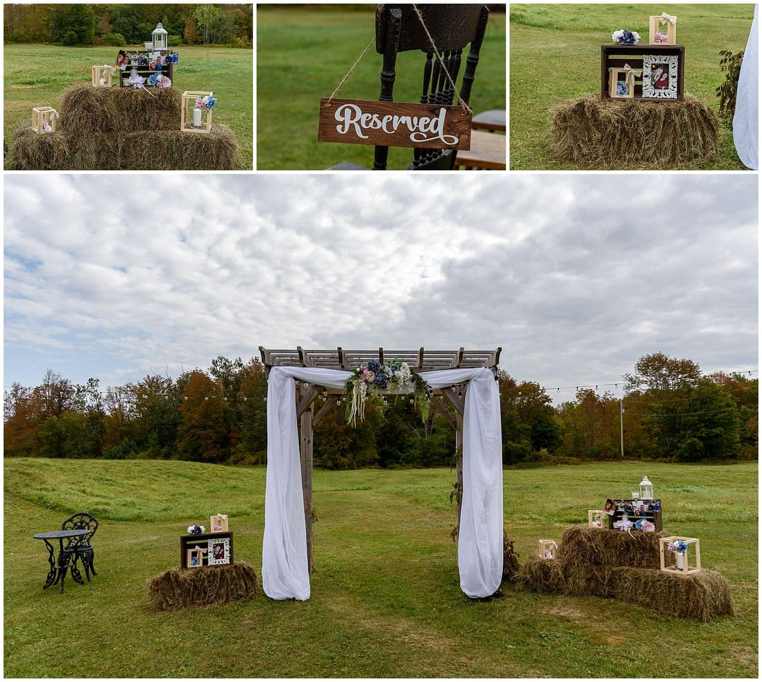 The wedding ceremony set up for a wedding day at the Barn at Sadie Belle Farm in Hantsport NS.