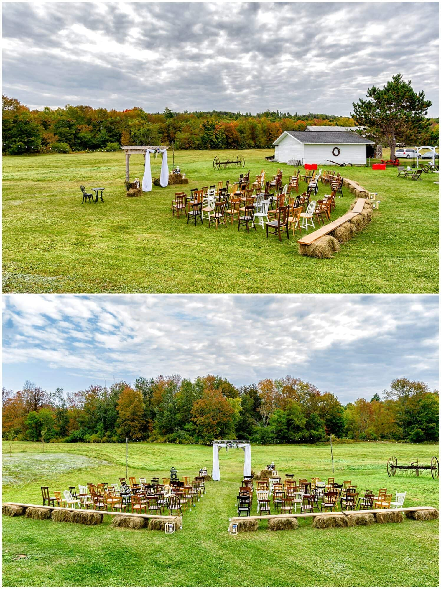 The wedding ceremony set up at the barn at Sadie Belle Farm in Hantsport NS.