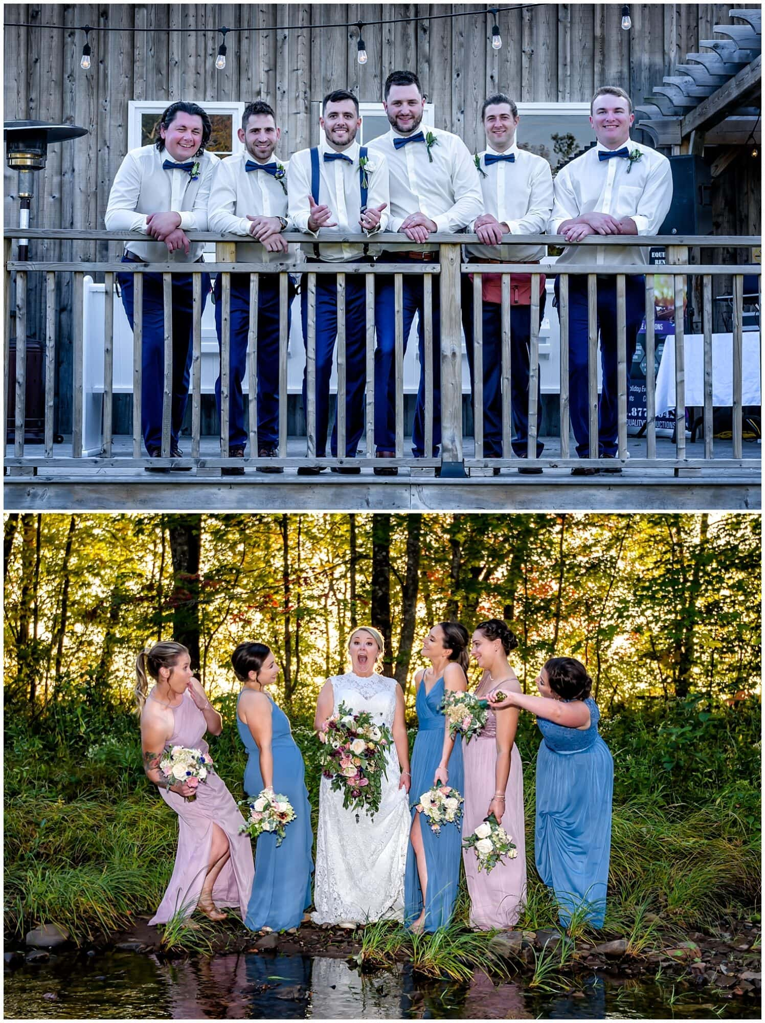 The bride poses with bridesmaids while the groom poses with his groomsmen at the Barn at Sadie Belle Farm in NS.