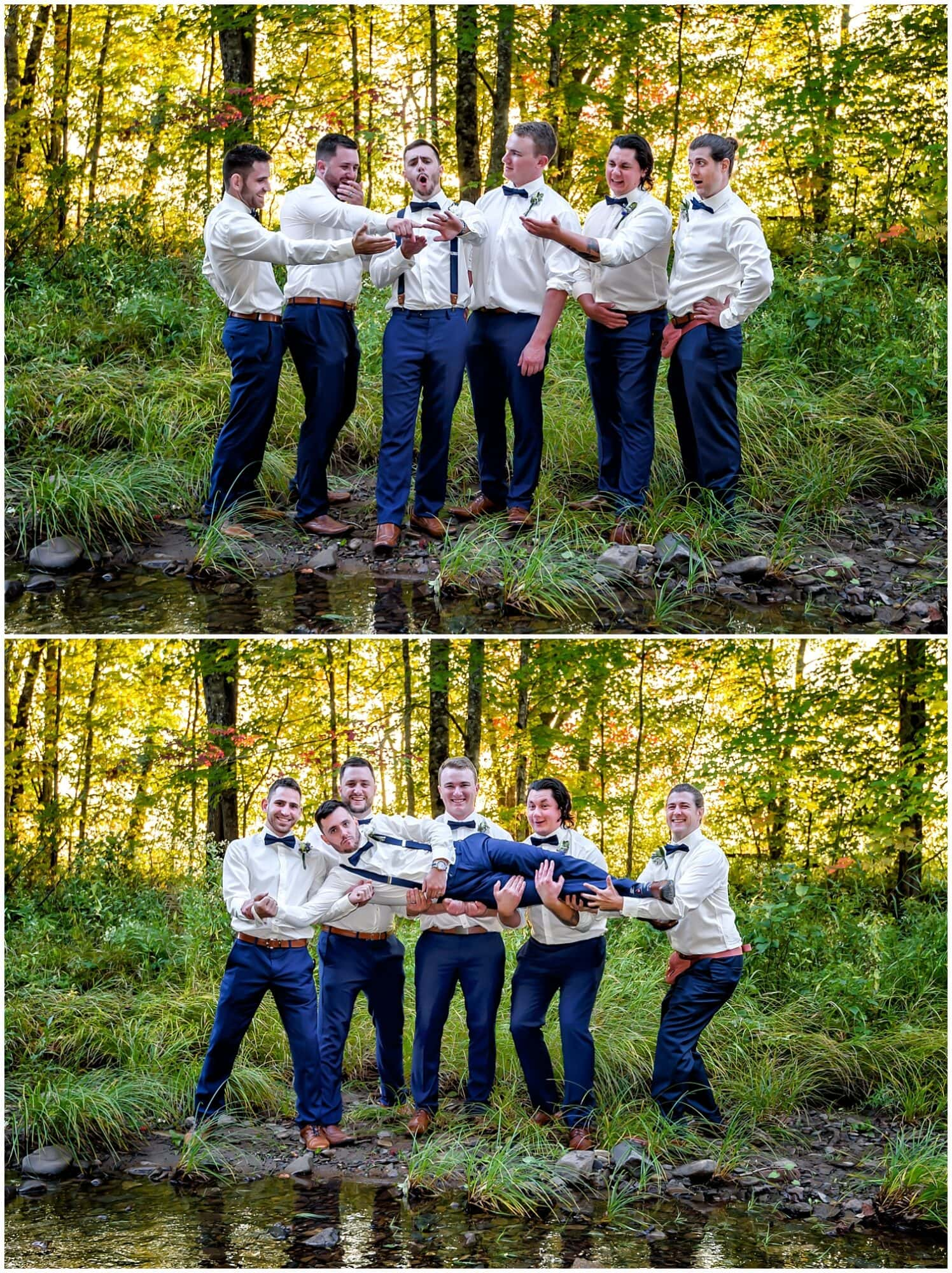 The groom poses for wedding photos with his groomsmen at the Sadie Belle Farm wedding venue.