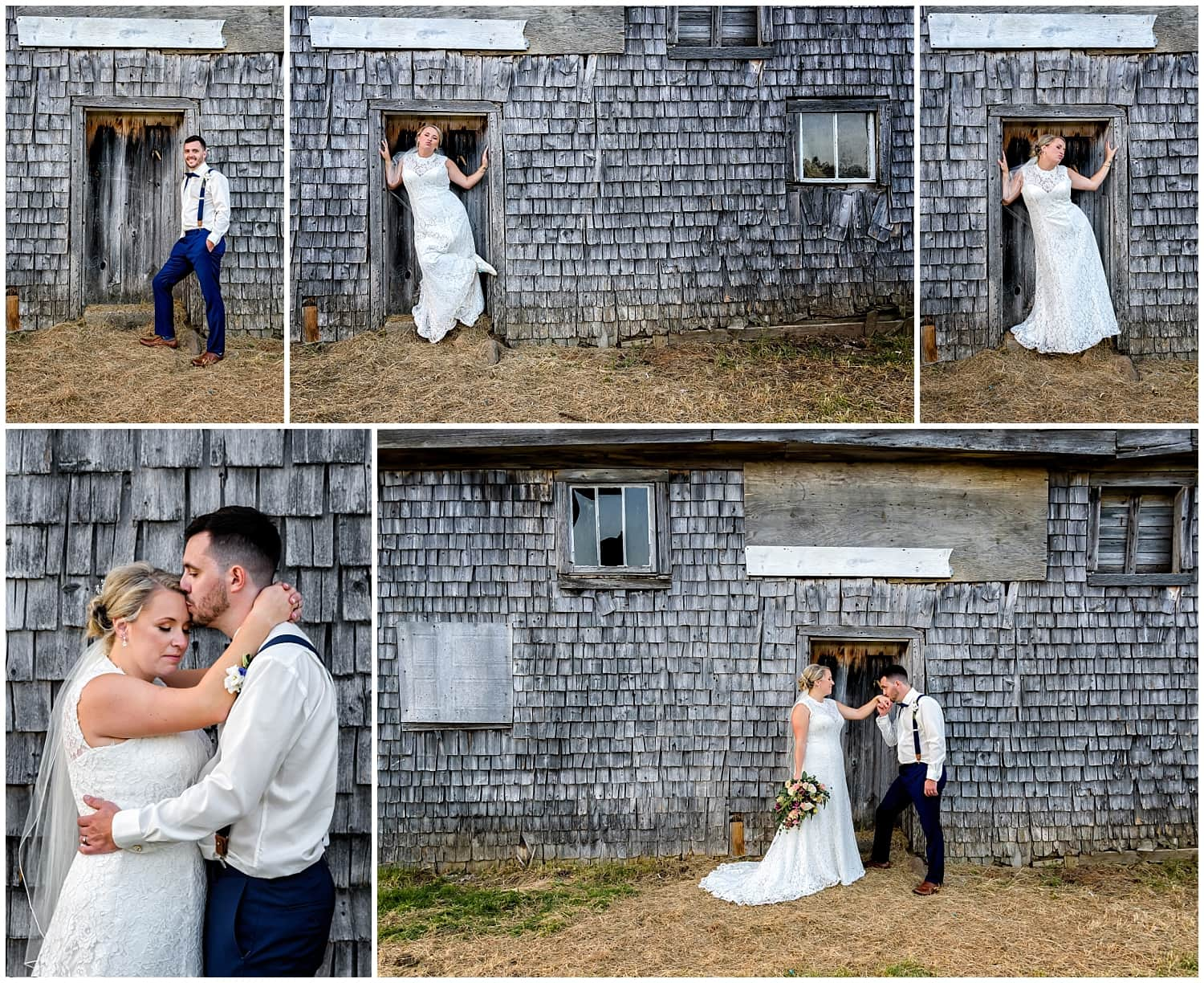 The bride and groom pose for wedding photos at the Barn at Sadie Belle Farm in Hantsport, NS.