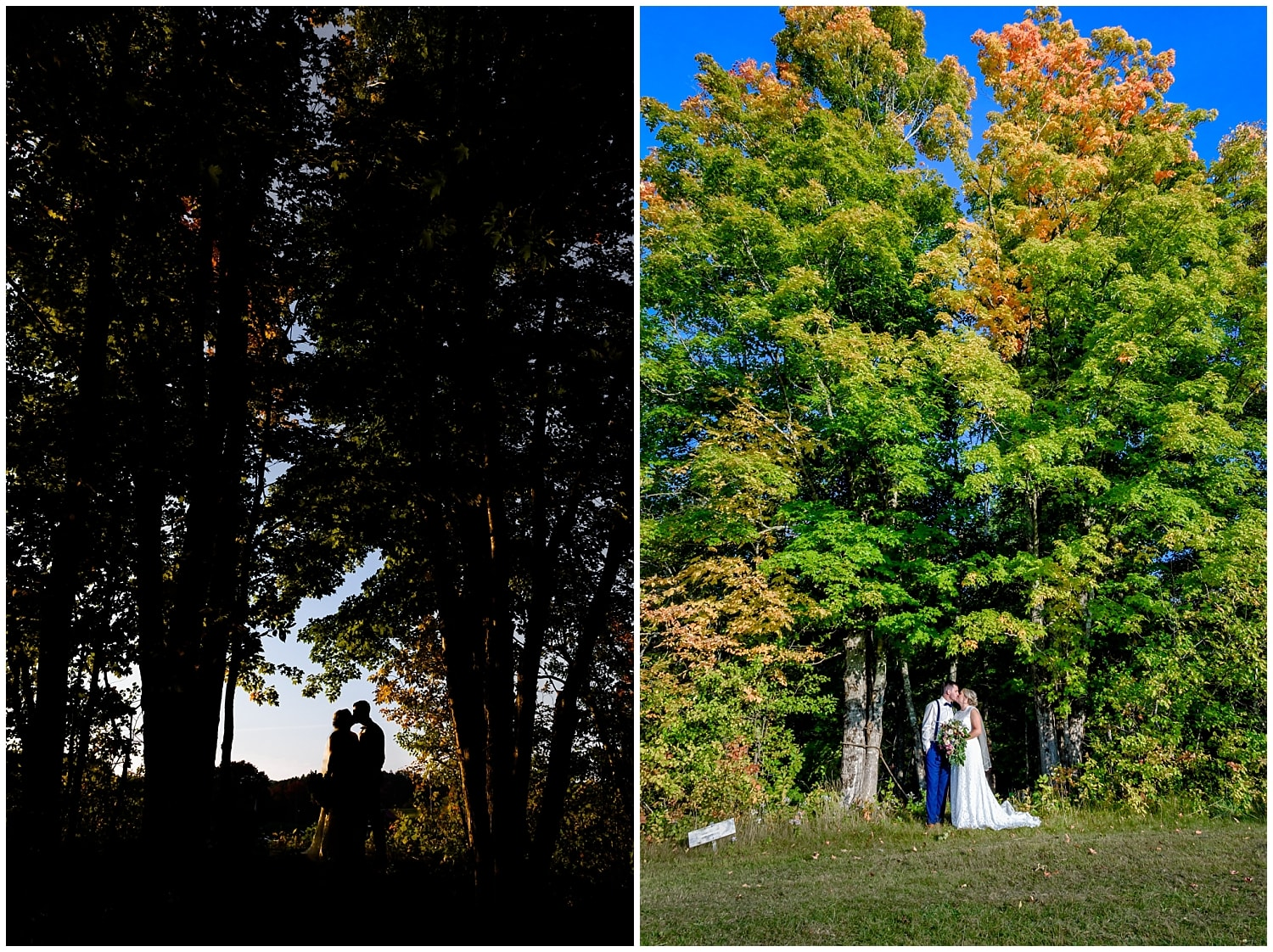 The bride and groom pose for their wedding photos near massive trees at the Barn at Sadie Belle Farms in Hantsport NS.