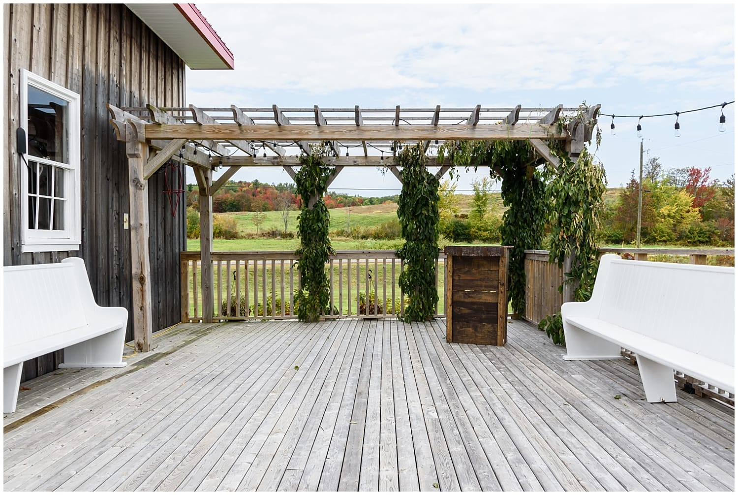 The balcony area for wedding speeches at the Barn at Sadie Belle Farm in Hantsport, NS.