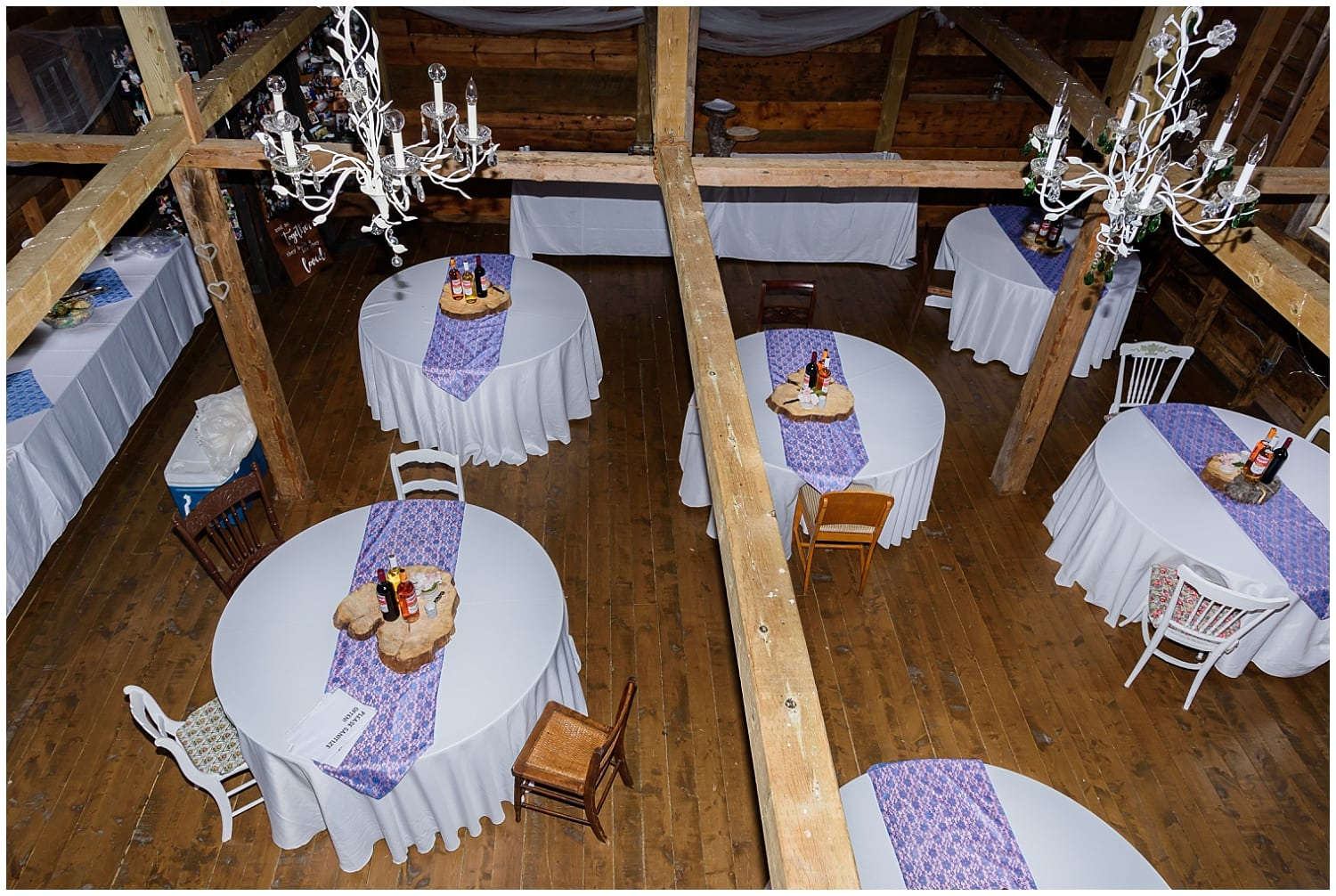 A rustic wedding reception set up for a wedding at the Barn at Sadie Belle Farm in Hantsport NS.