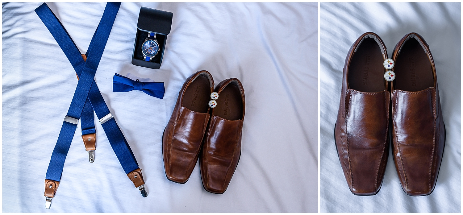The groom's shoes, bow tie, suspenders and cufflinks for his wedding day prep.