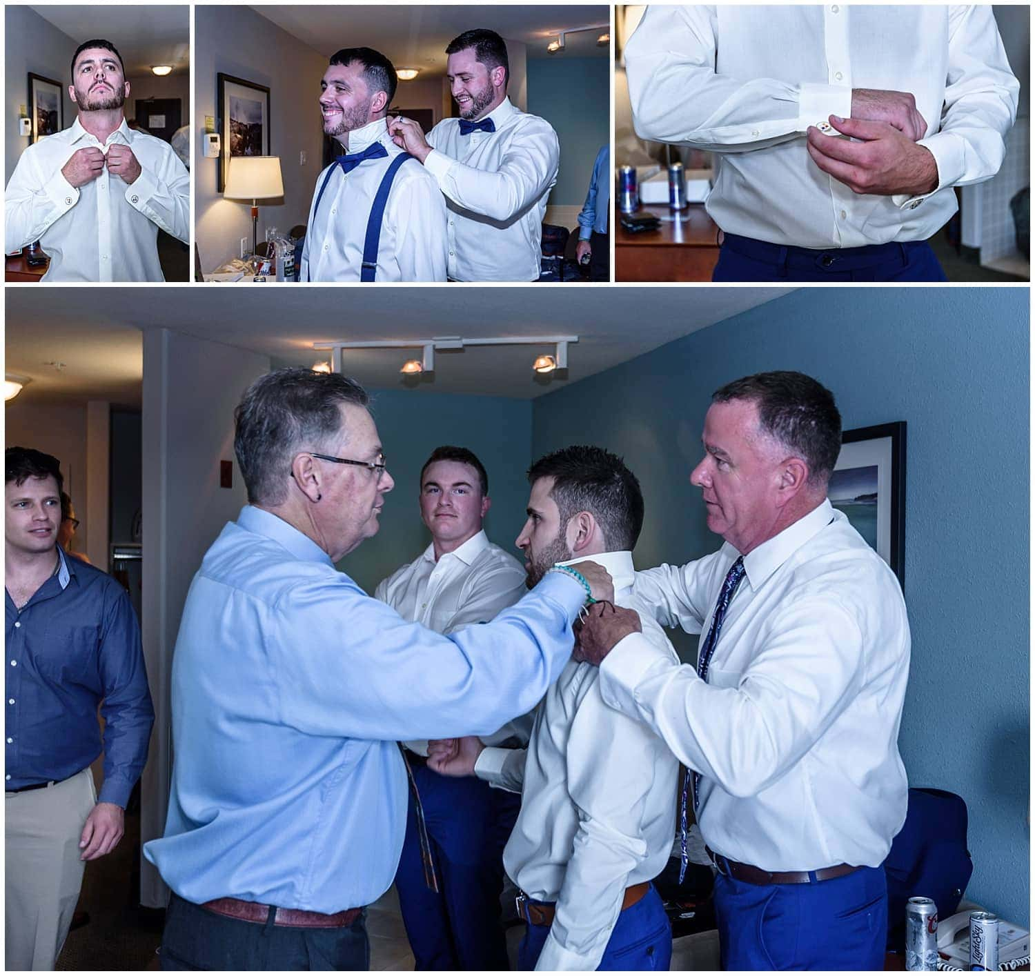 The groom getting ready for his wedding day with family and groomsmen at the Super 8 hotel in Windsor, NS.