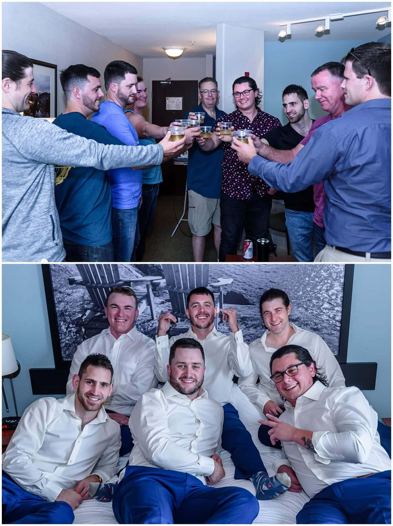 The groom with his groomsmen during wedding prep at the Super 8 hotel in Windsor, NS.