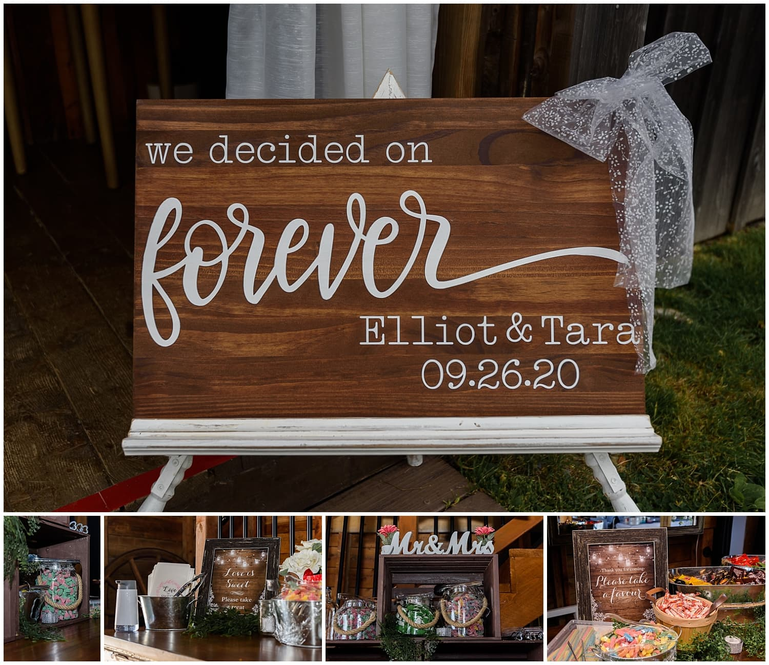 A wooden sign and candy bar at a wedding reception at the Barn at Sadie Belle Farm in NS.