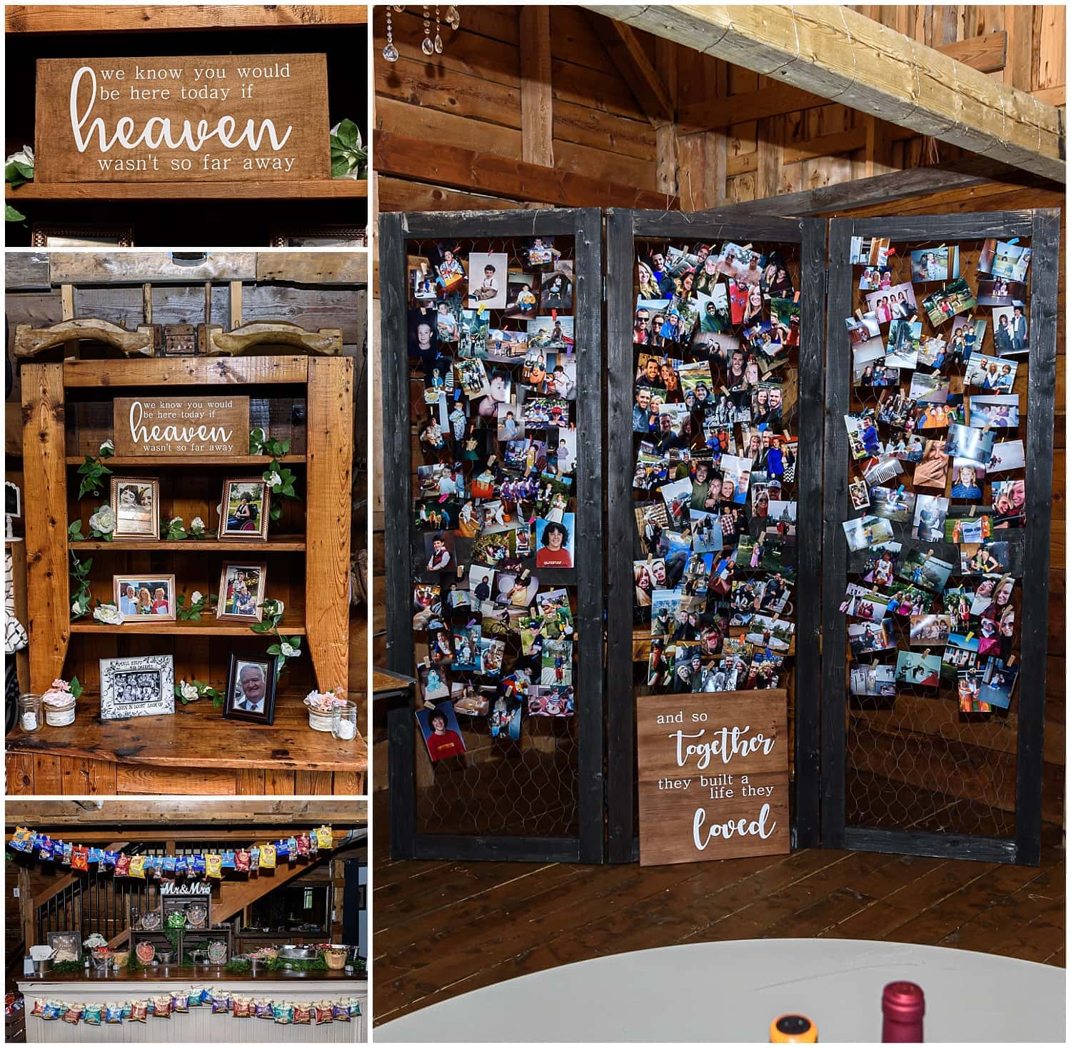 The wedding reception candy bar and wooden wedding signs at the Barn at Sadie Belle Farm in Hantsport NS.