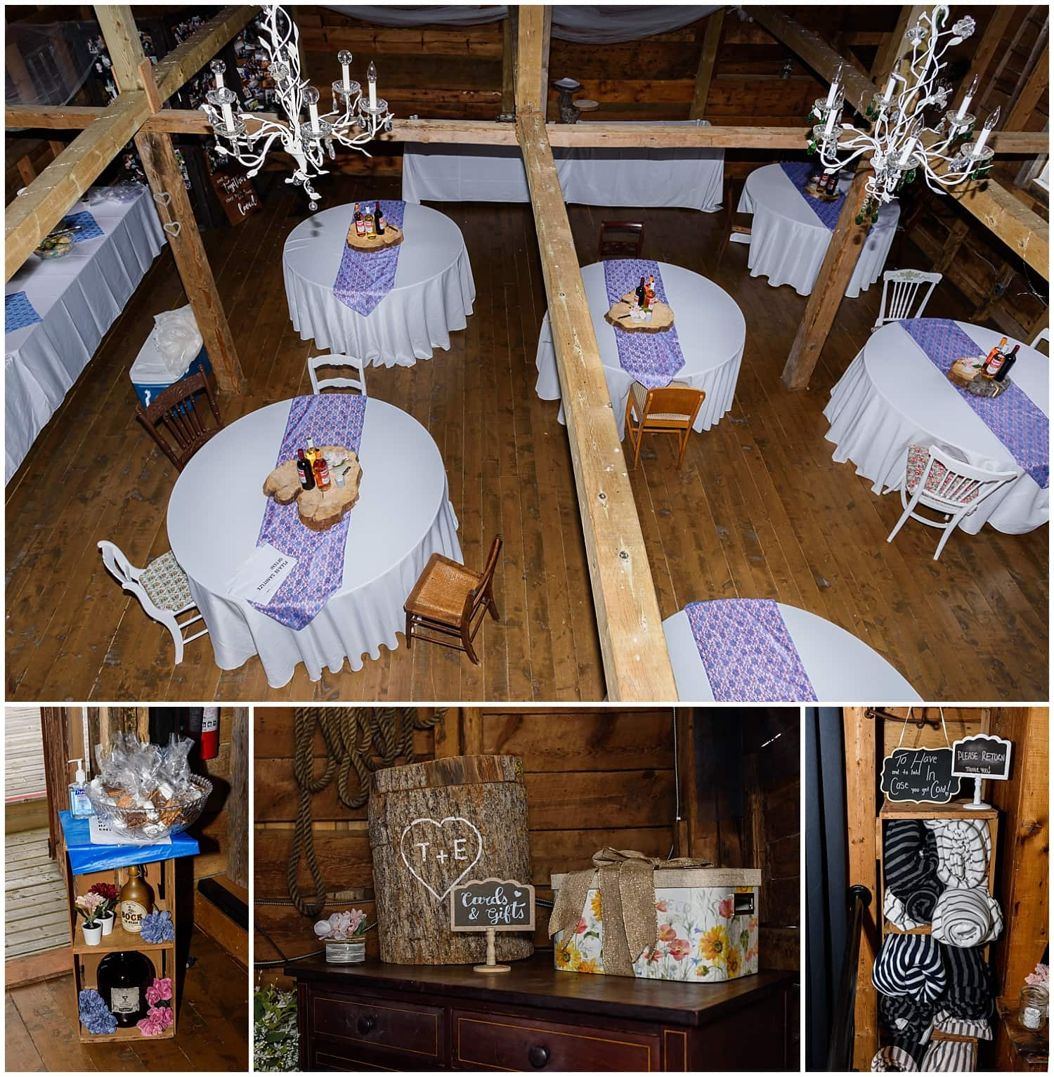 The wedding reception set up at the Barn at Sadie Belle Farm in Hantsport NS.